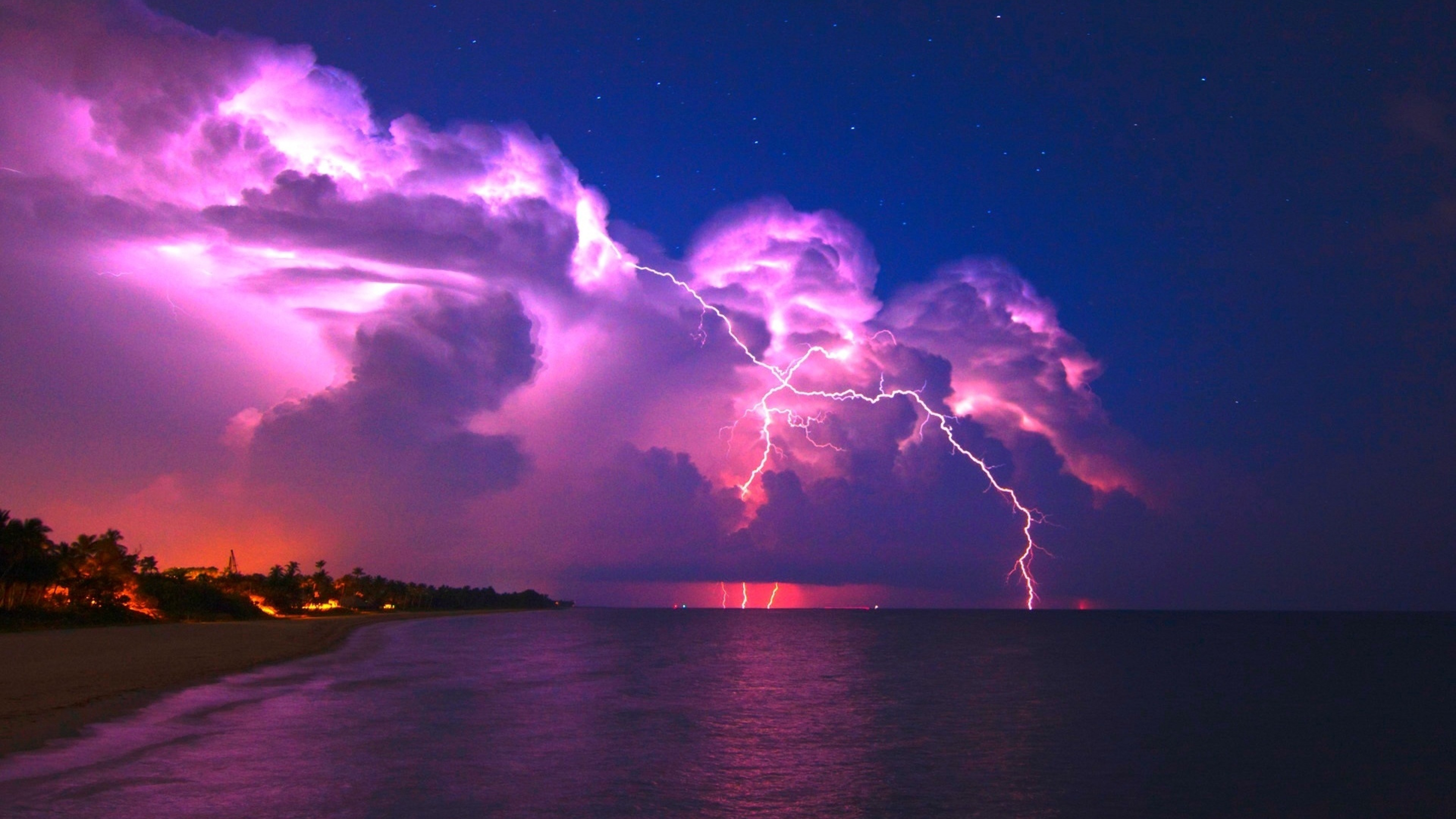 Preview wallpaper lightning, elements, coast, night, stars, clouds, clearly,
