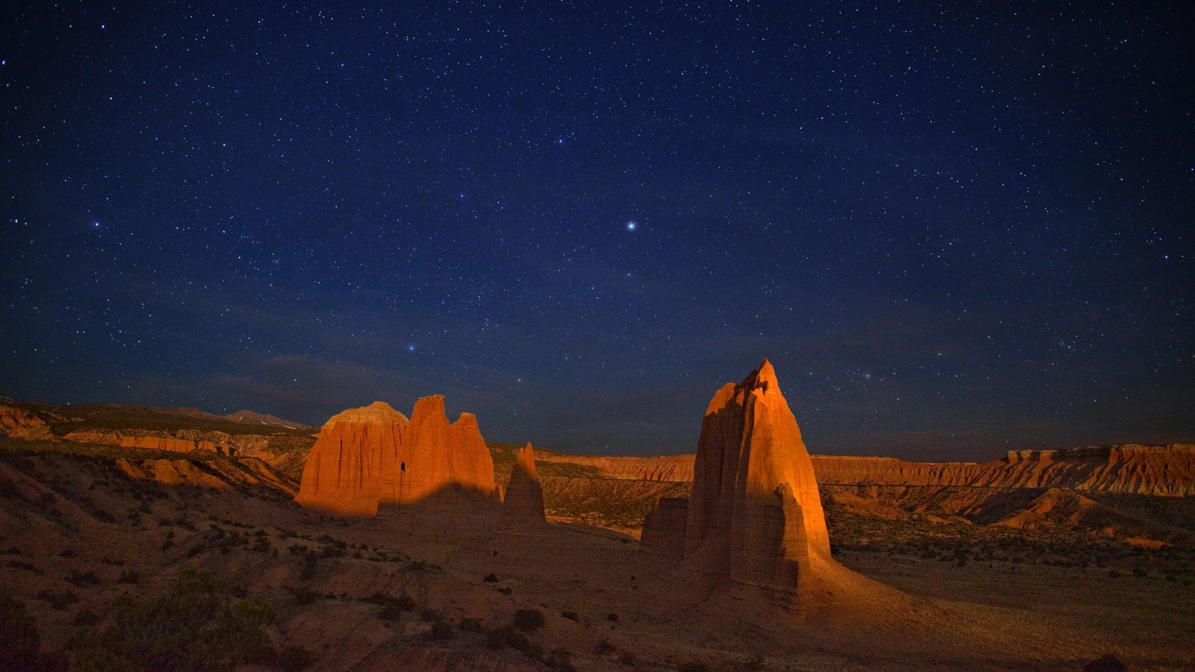 Wallpaper canyon, desert, night, stars, sky, shadow