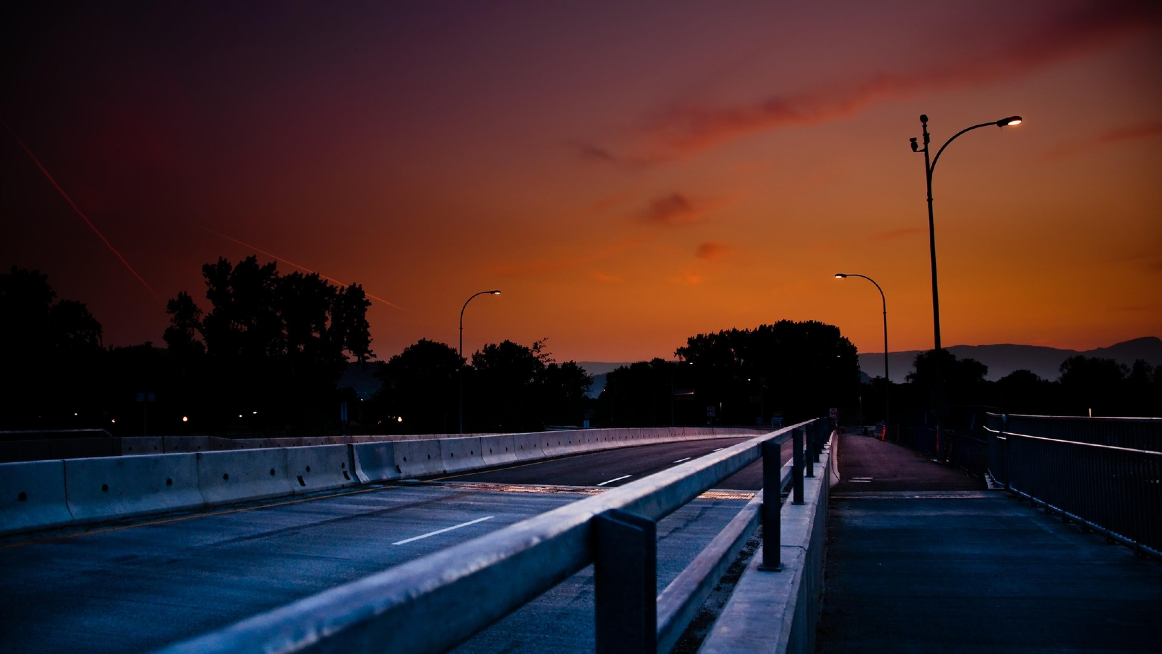 Wallpaper road, lights, night, sky