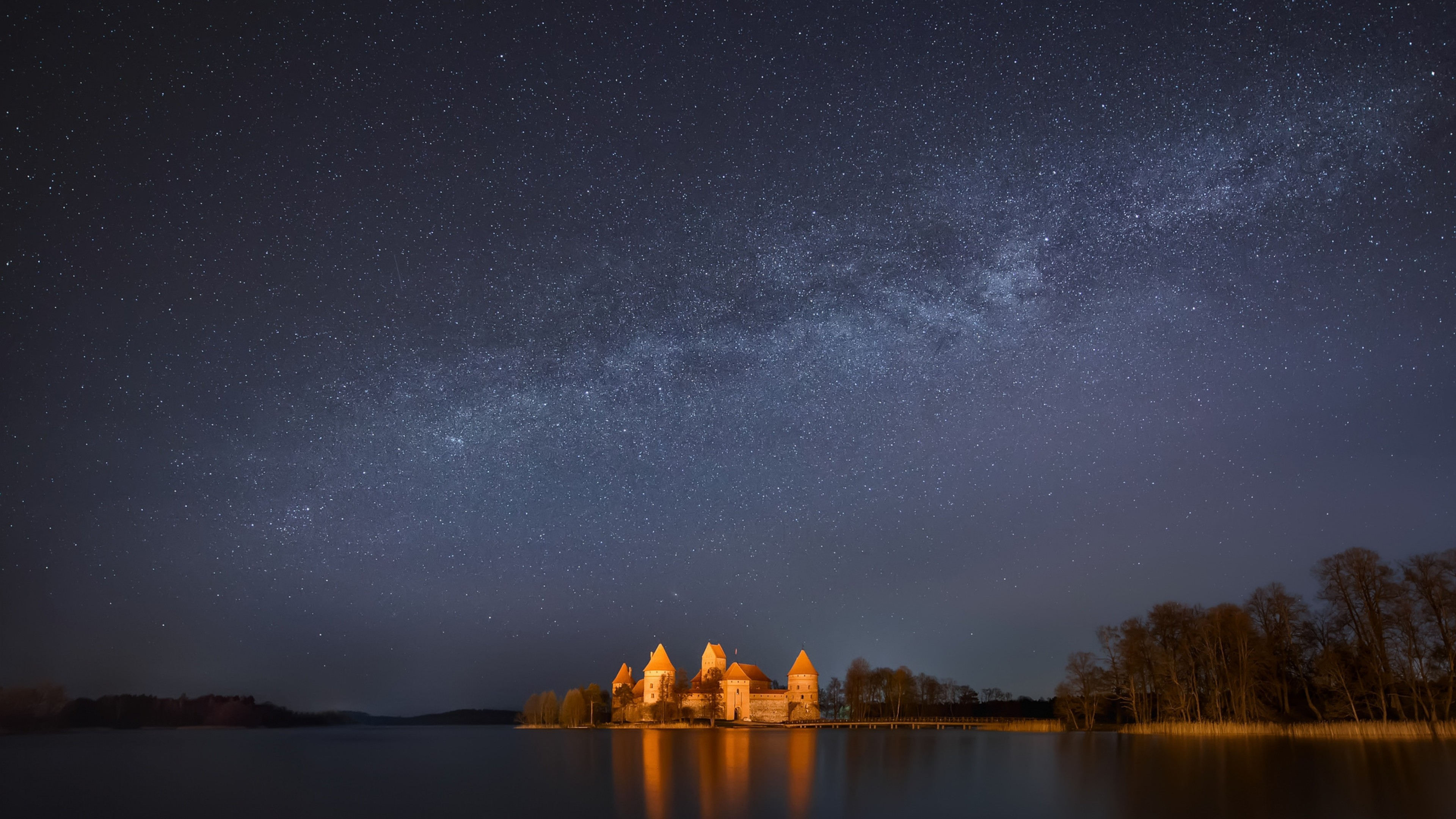 Wallpaper lithuania, trakai, lake, trees, night, sky, stars,