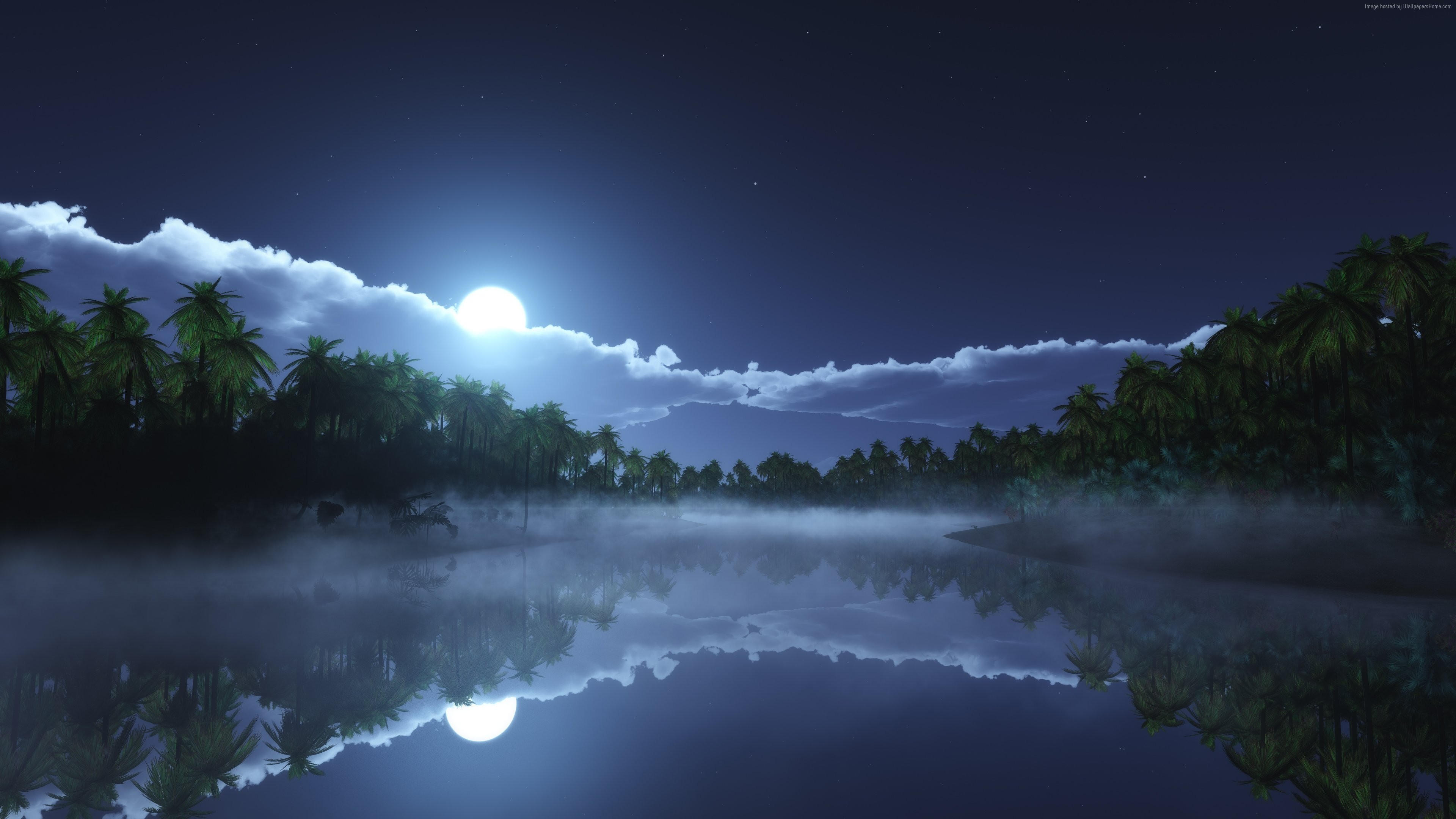 awesome Moon night view 4k wallpaper