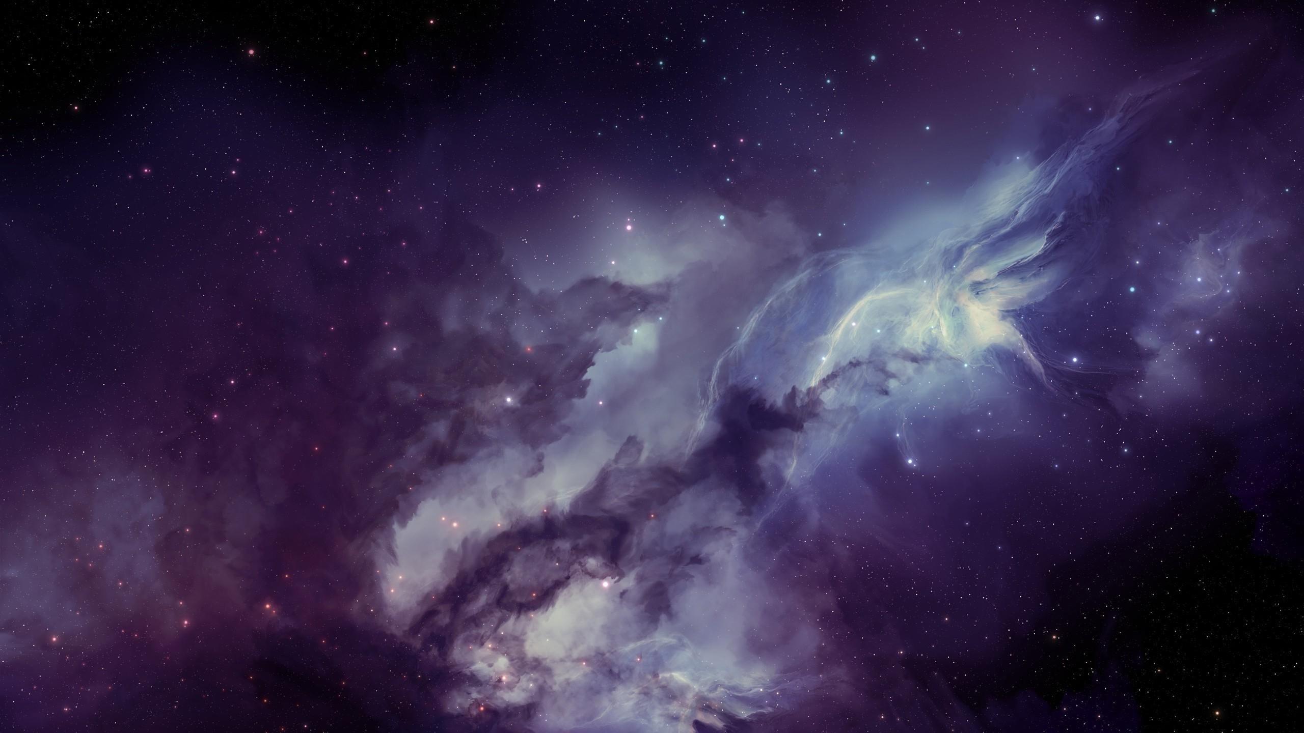Preview wallpaper galaxy, nebula, blurring, stars 2560×1440