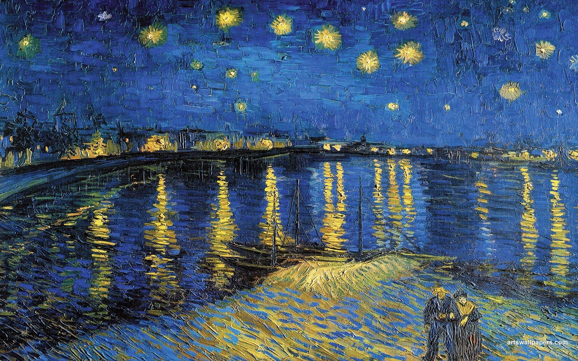 Starry Night over the Rhone Wallpaper, Vincent van Gogh Art ..