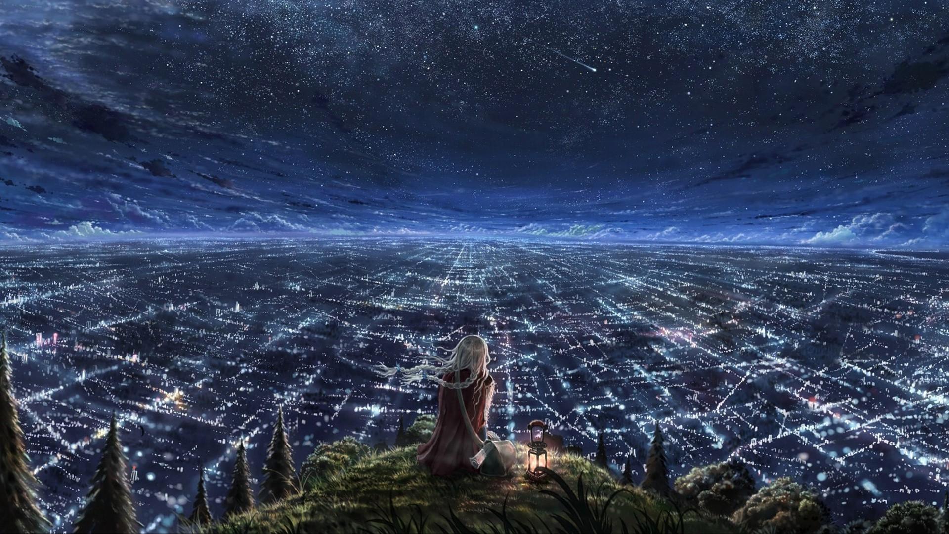 Girl Looking On The <b>Night</b> City Under <b