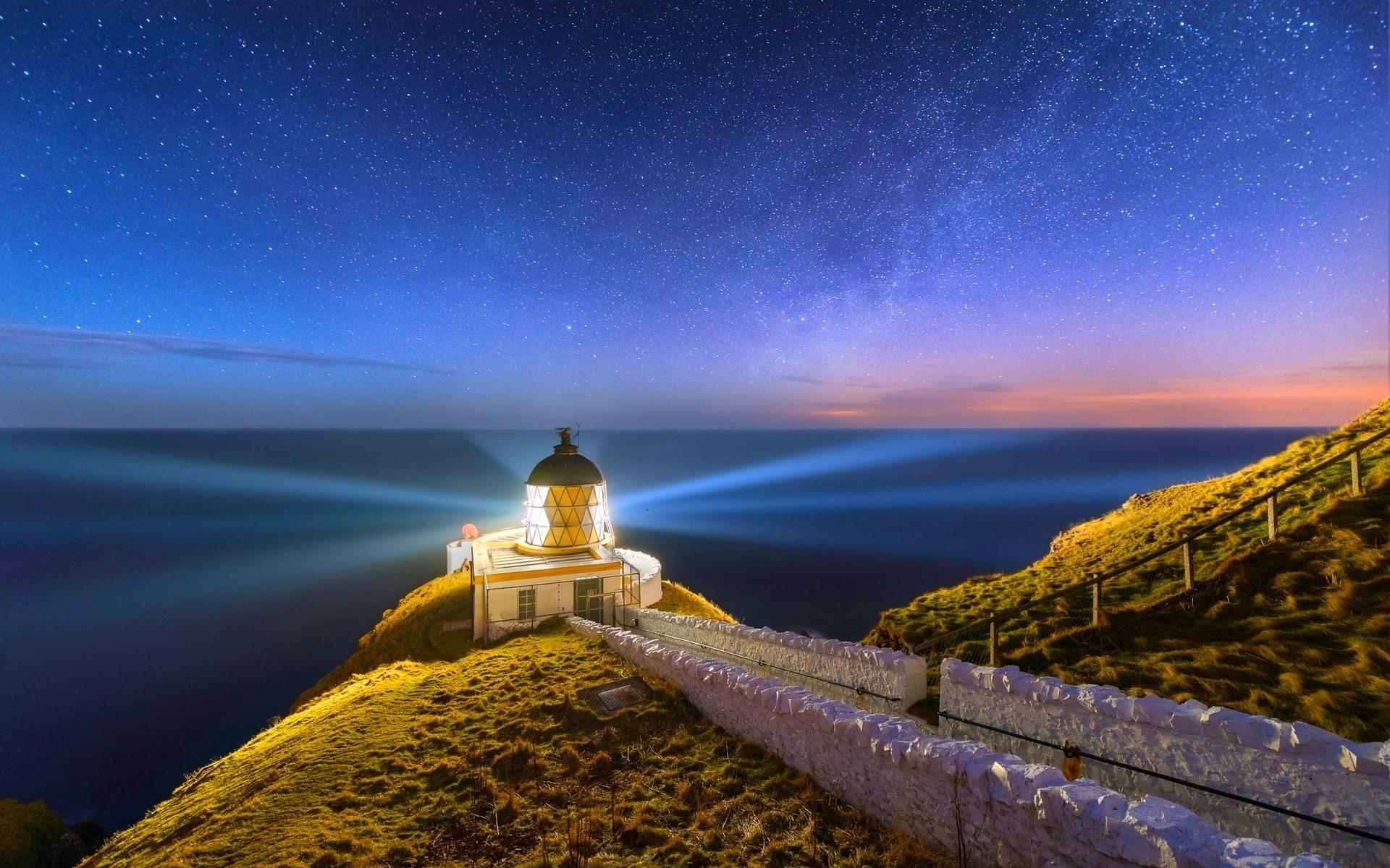 nature, Landscape, Lighthouse, Scotland, Starry Night, Sea, Long Exposure,