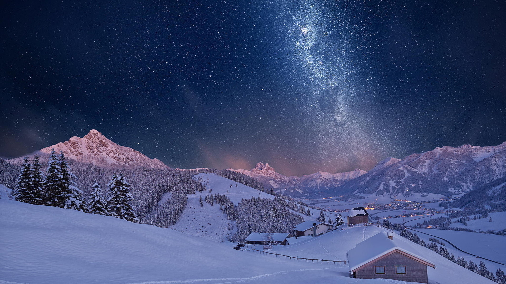 Wonderful Starry Night Above A Town In A Valley HD Desktop Background  wallpaper
