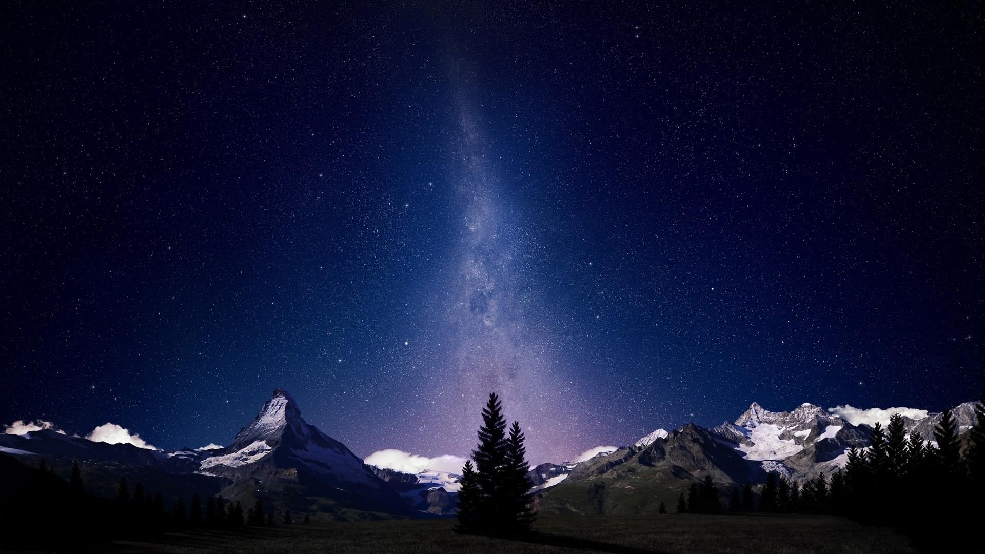 Wallpaper milky way, august, sky, fir-trees, trees, night