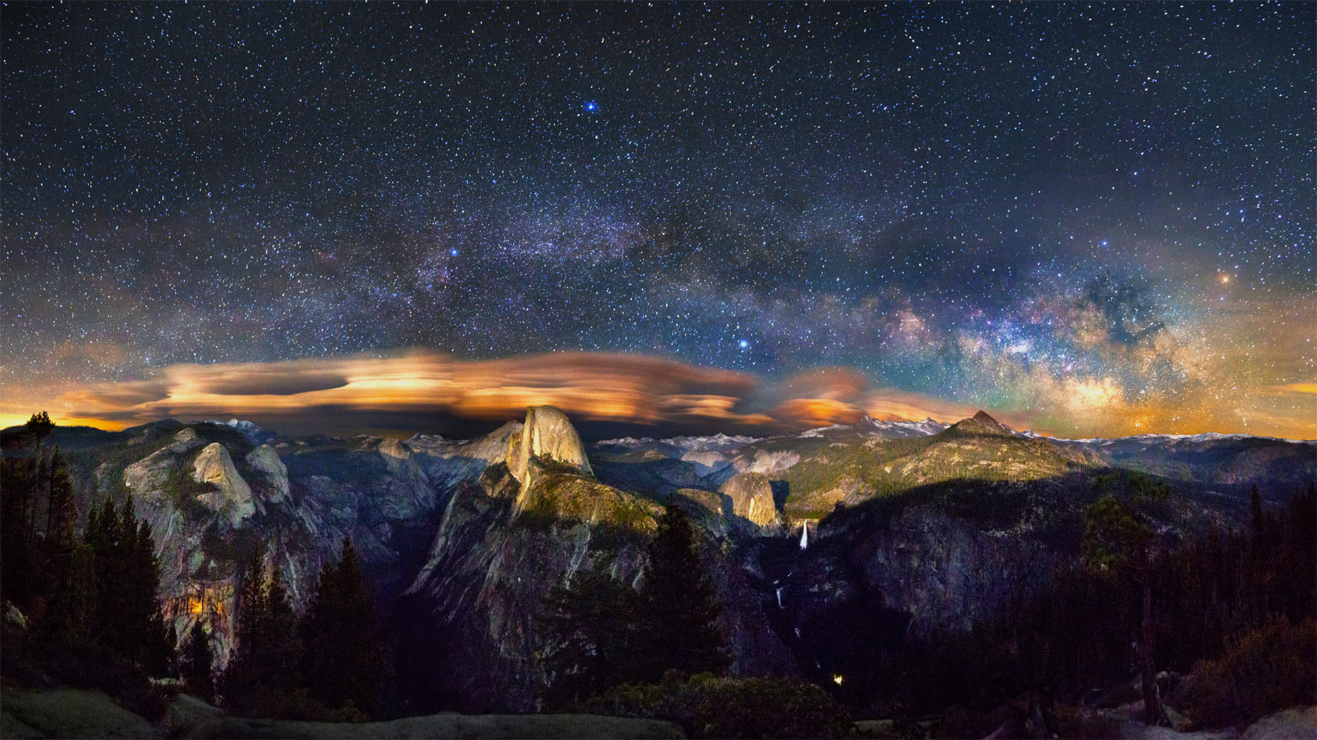 Milky Way over Yosemite (1920×1080) (xpost from /r/spaceporn) …