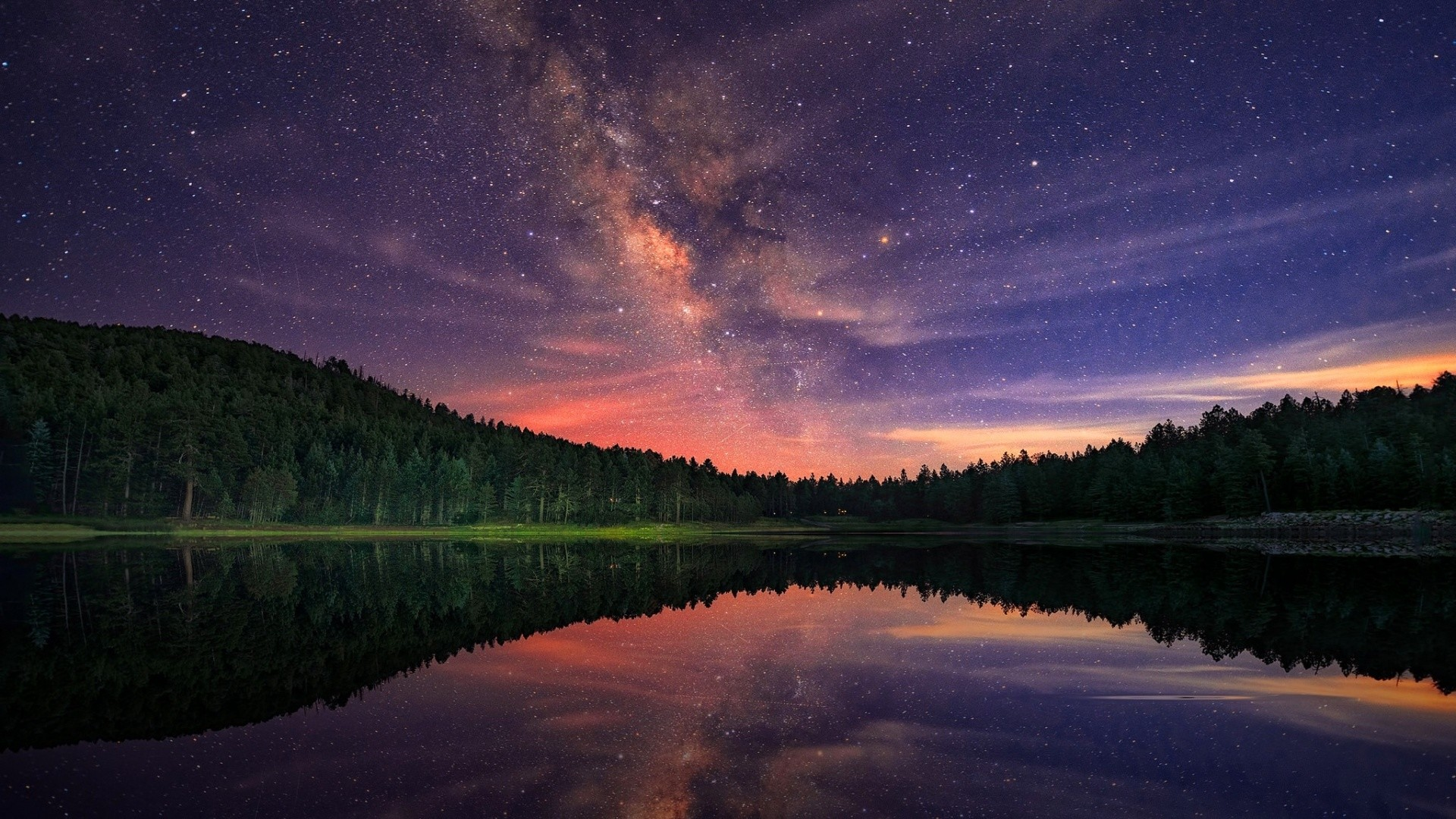 Milky Way Stars Night And Forest Lake
