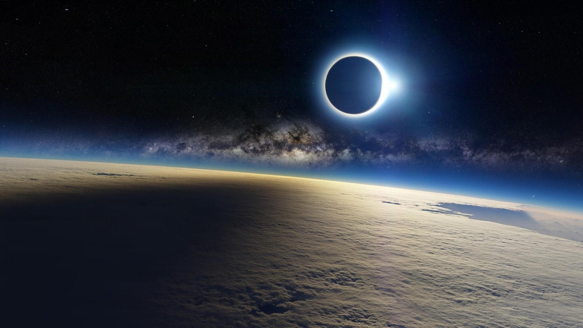 … clouds, milky way, eclipse