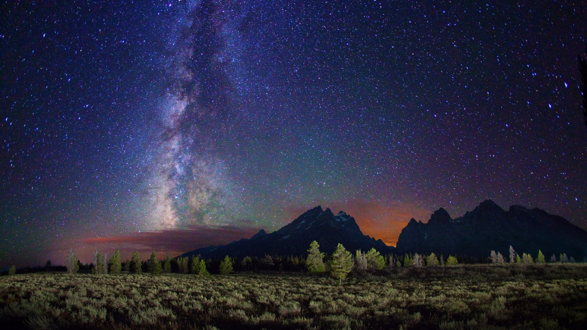 Preview wallpaper milky way, stars, mountains, field, night 1920×1080