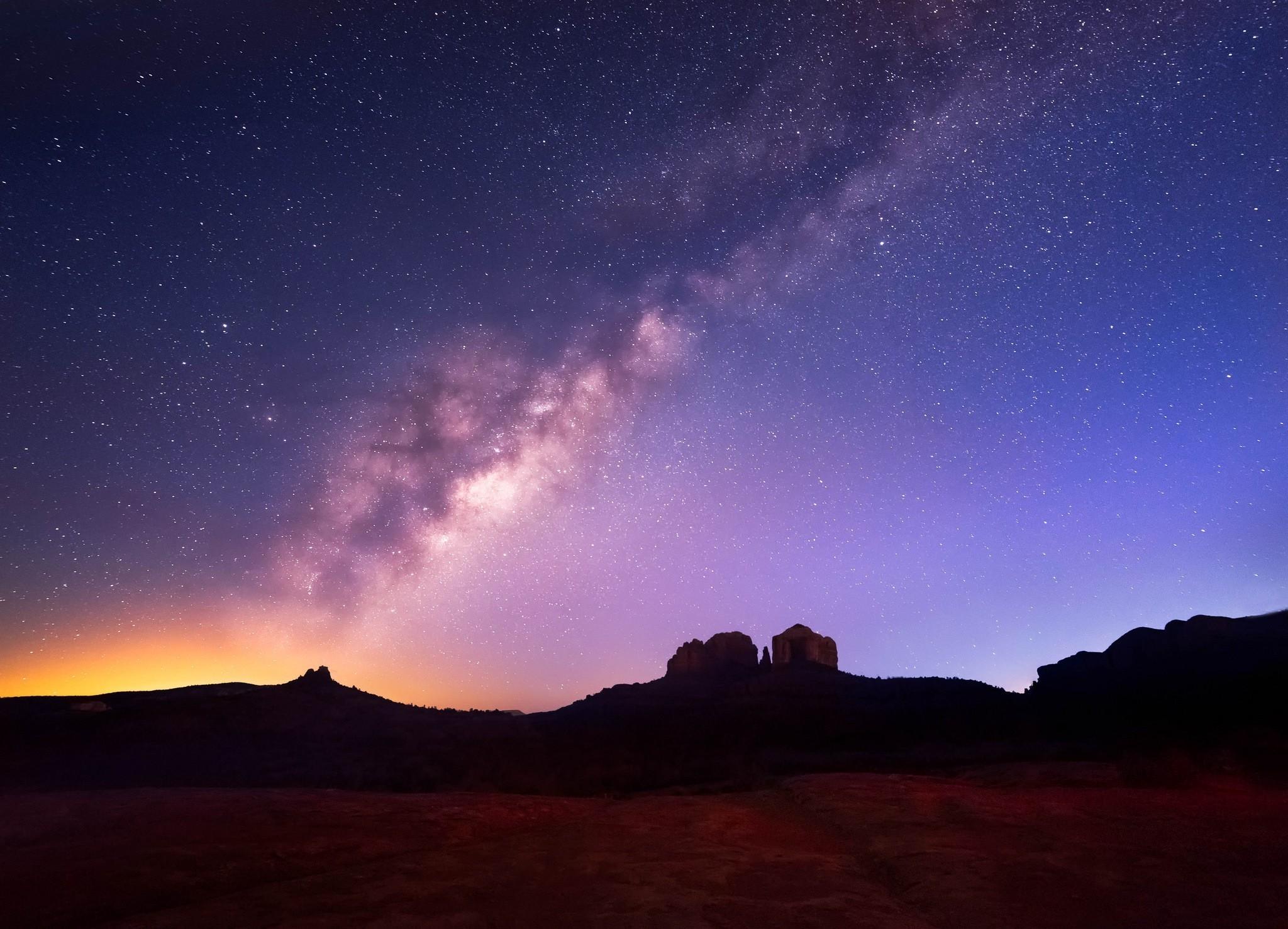 landscape, Stars, Space, Milky Way Wallpaper HD