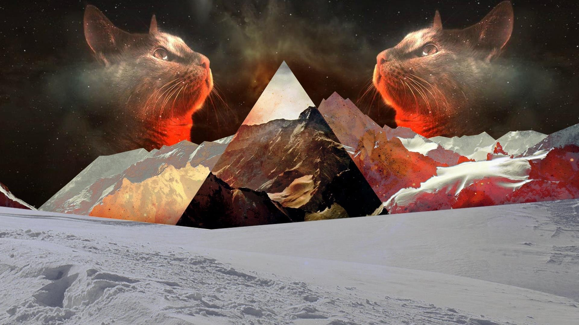 General cat nature snow polyscape mountains triangle digital art