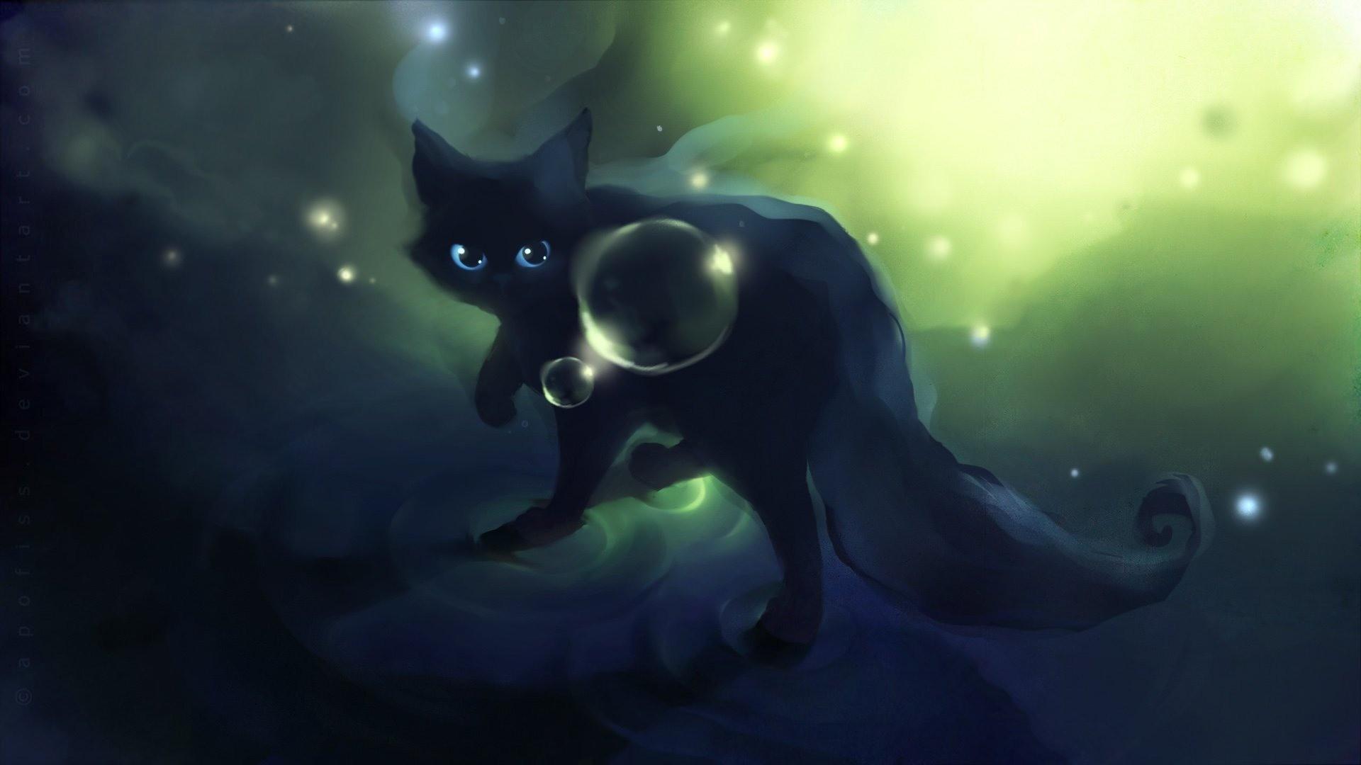 Apofiss small black cat wallpaper watercolor illustrations #12 – 1920×1080