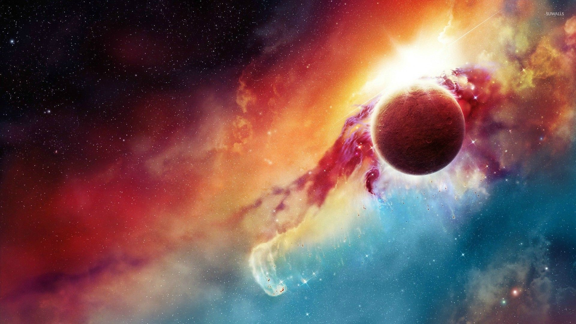 Colorful nebula behind the planet wallpaper · Space · Nebula · Planet ·  …