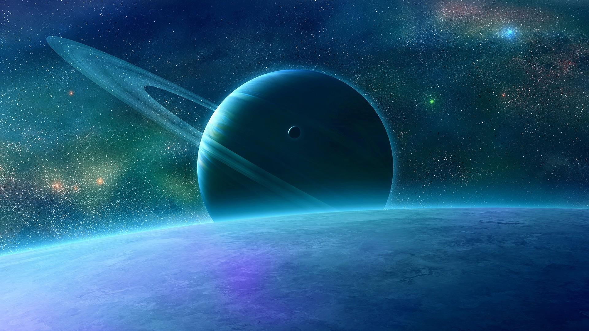 Wallpaper planet, rings, sky, space
