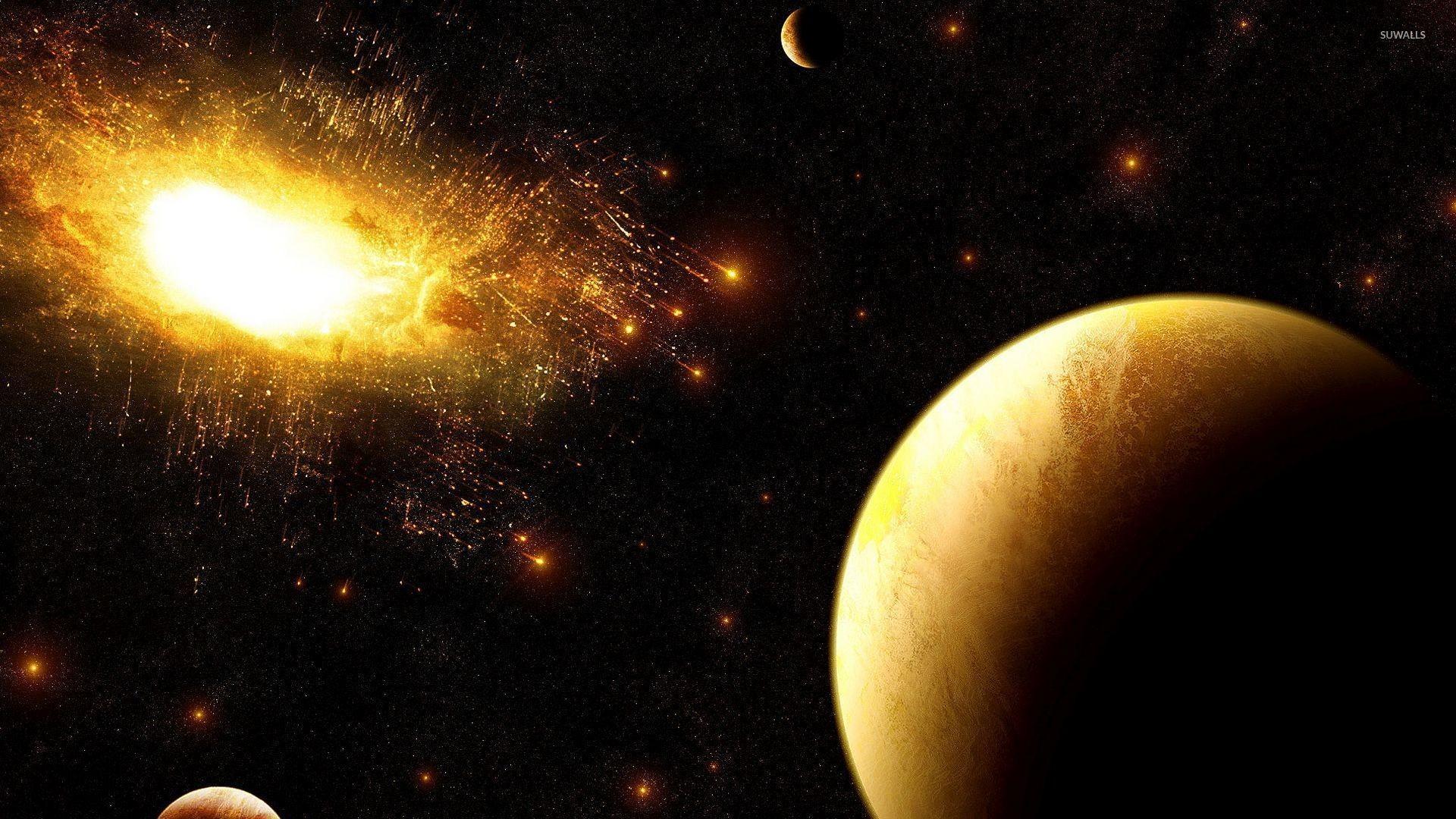 Golden explosion in the dark space wallpaper jpg