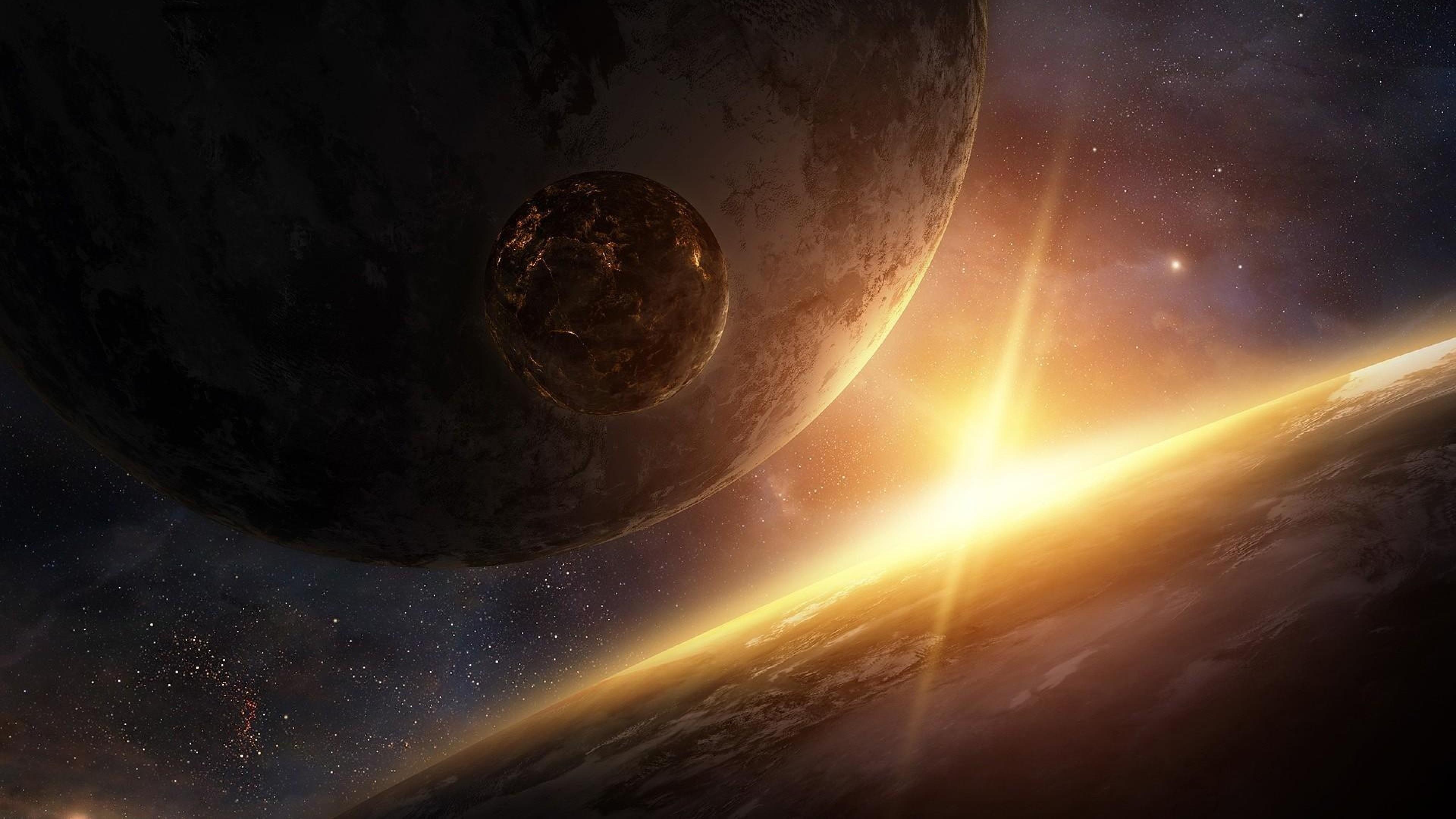 Download Wallpaper Planet, Rays, Light, Universe, Nebula 4K .