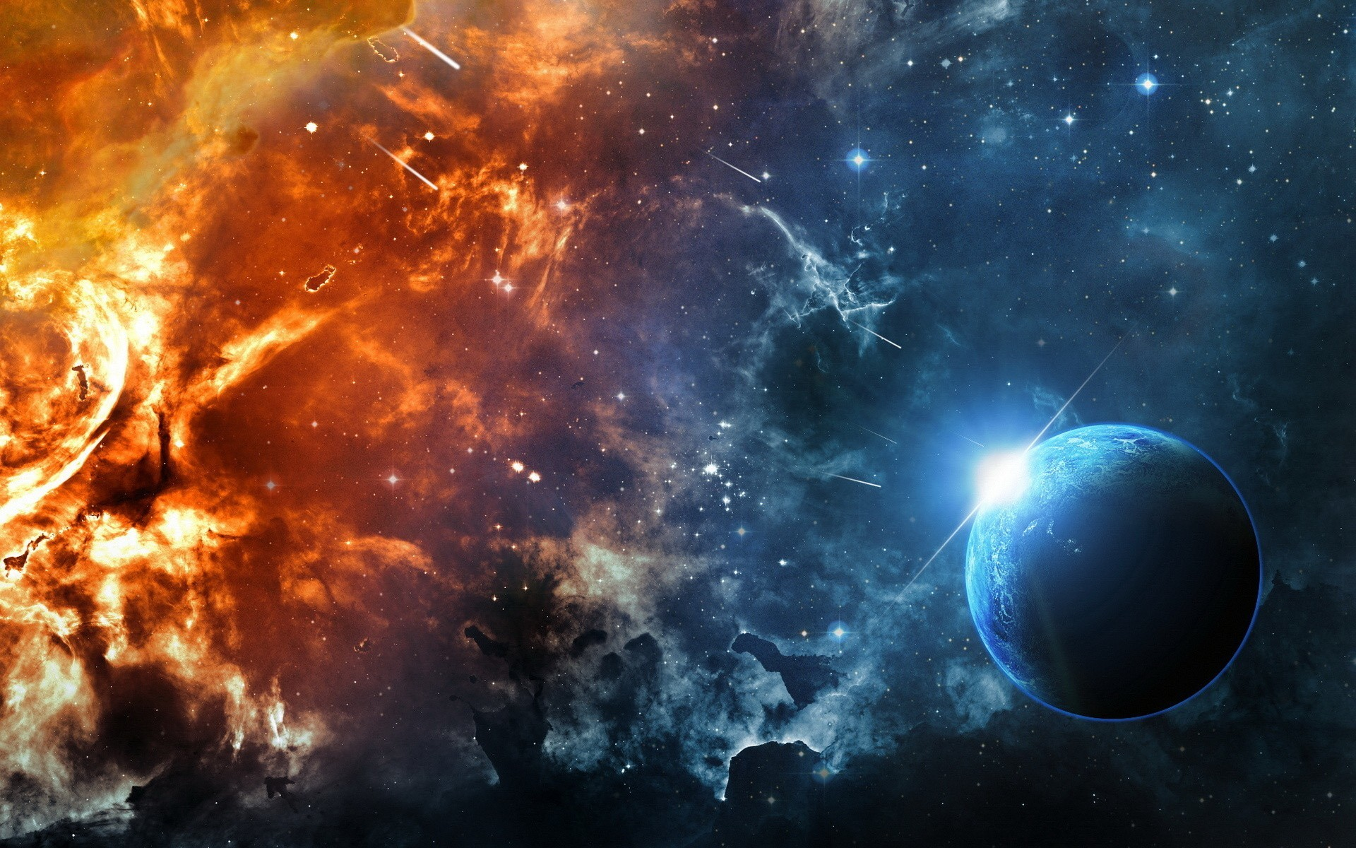 Fire Planet Space Wallpaper Free HD Image
