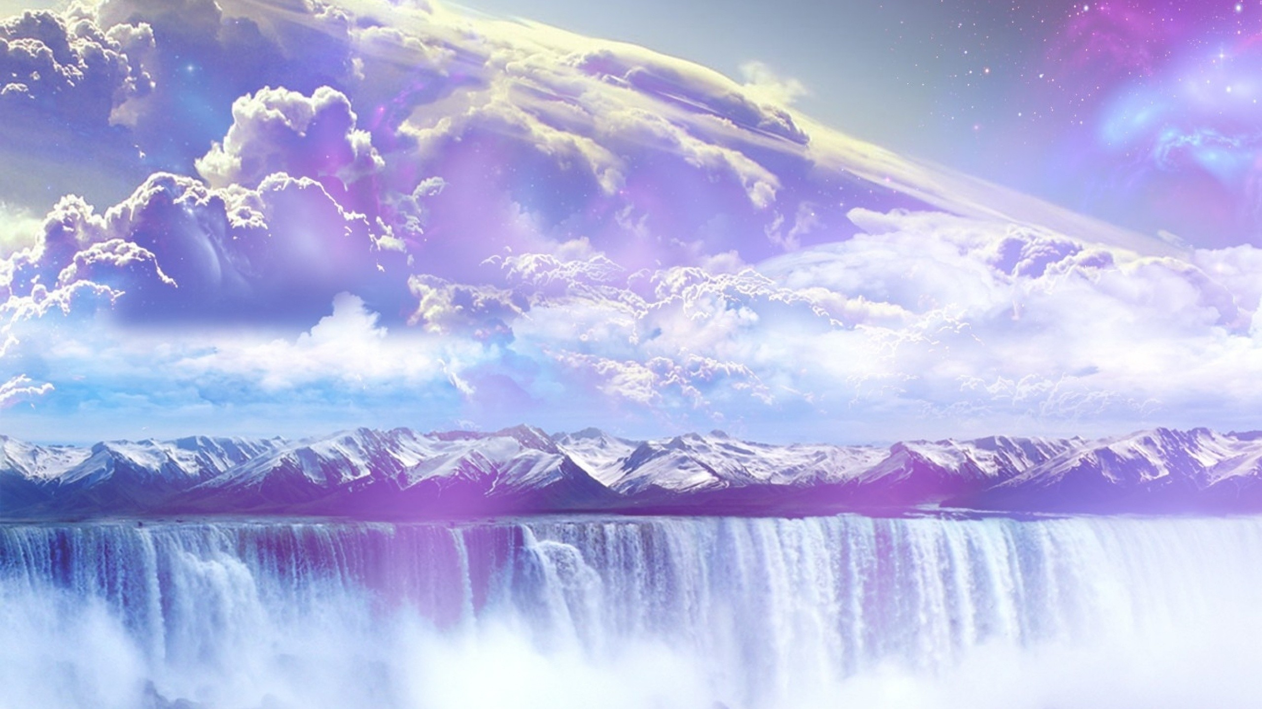 Galaxy Waterfall Mountains Sky desktop PC and Mac wallpaper
