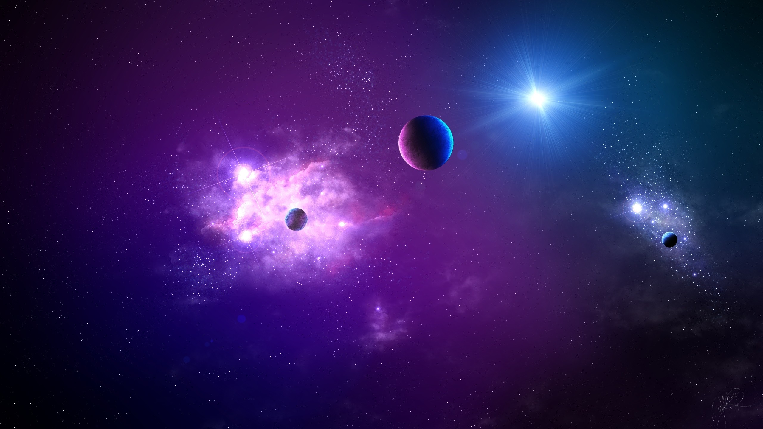 Preview wallpaper space, planet, light, galaxy 2560×1440