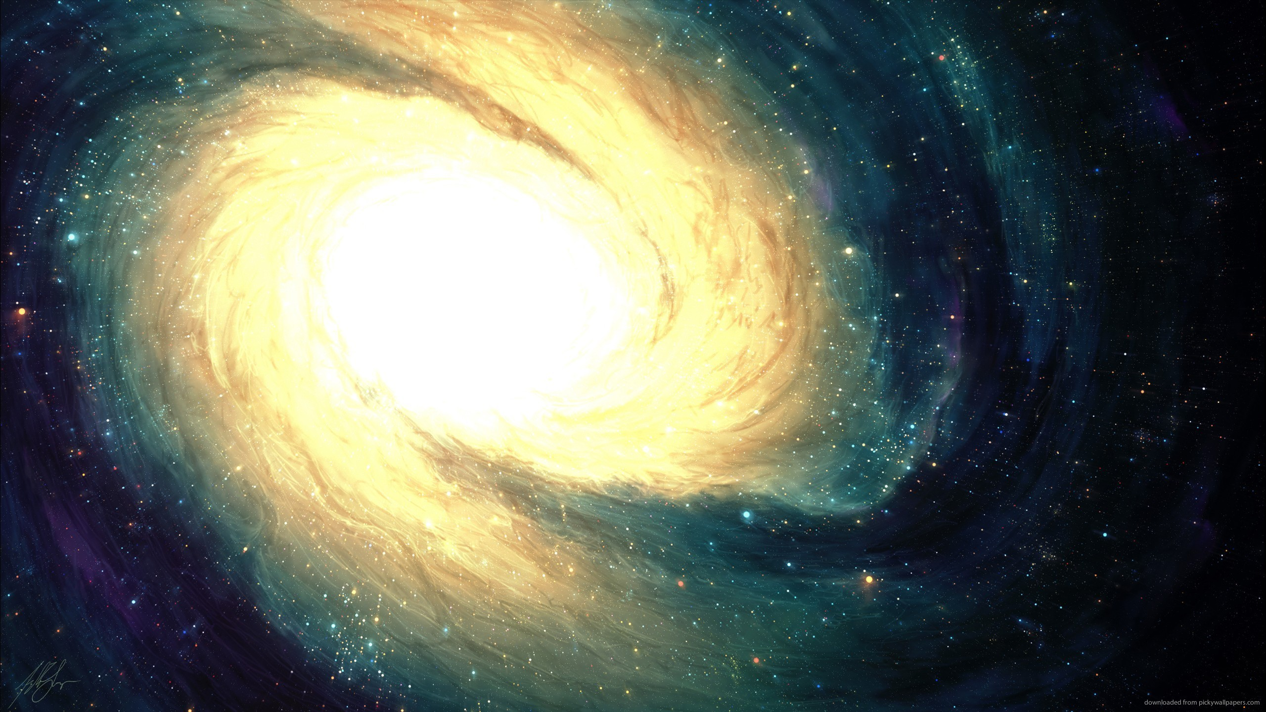 Twirling Bright Galaxy for 2560×1440