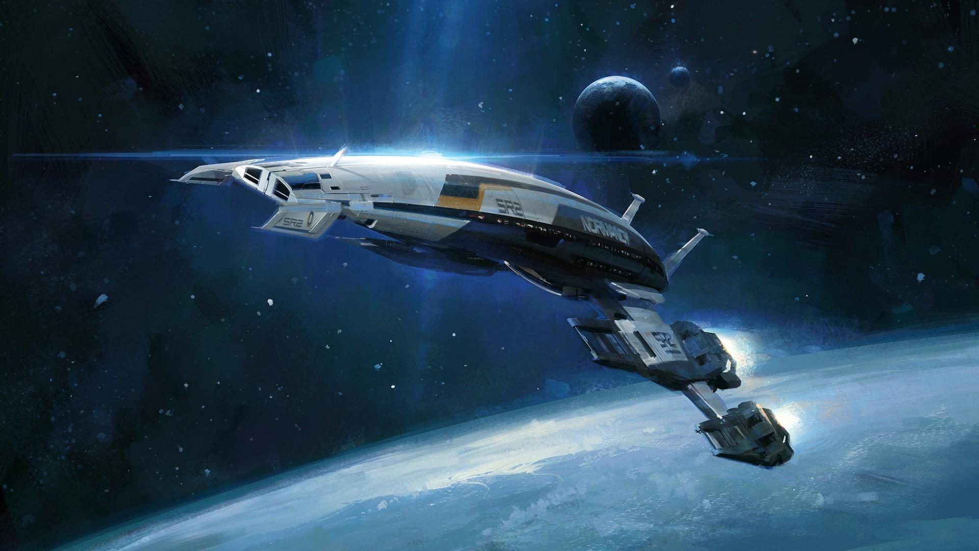 Space Concept Art Normandy Ship HD Desktop Wallpaper Hd Space wallpapers  download