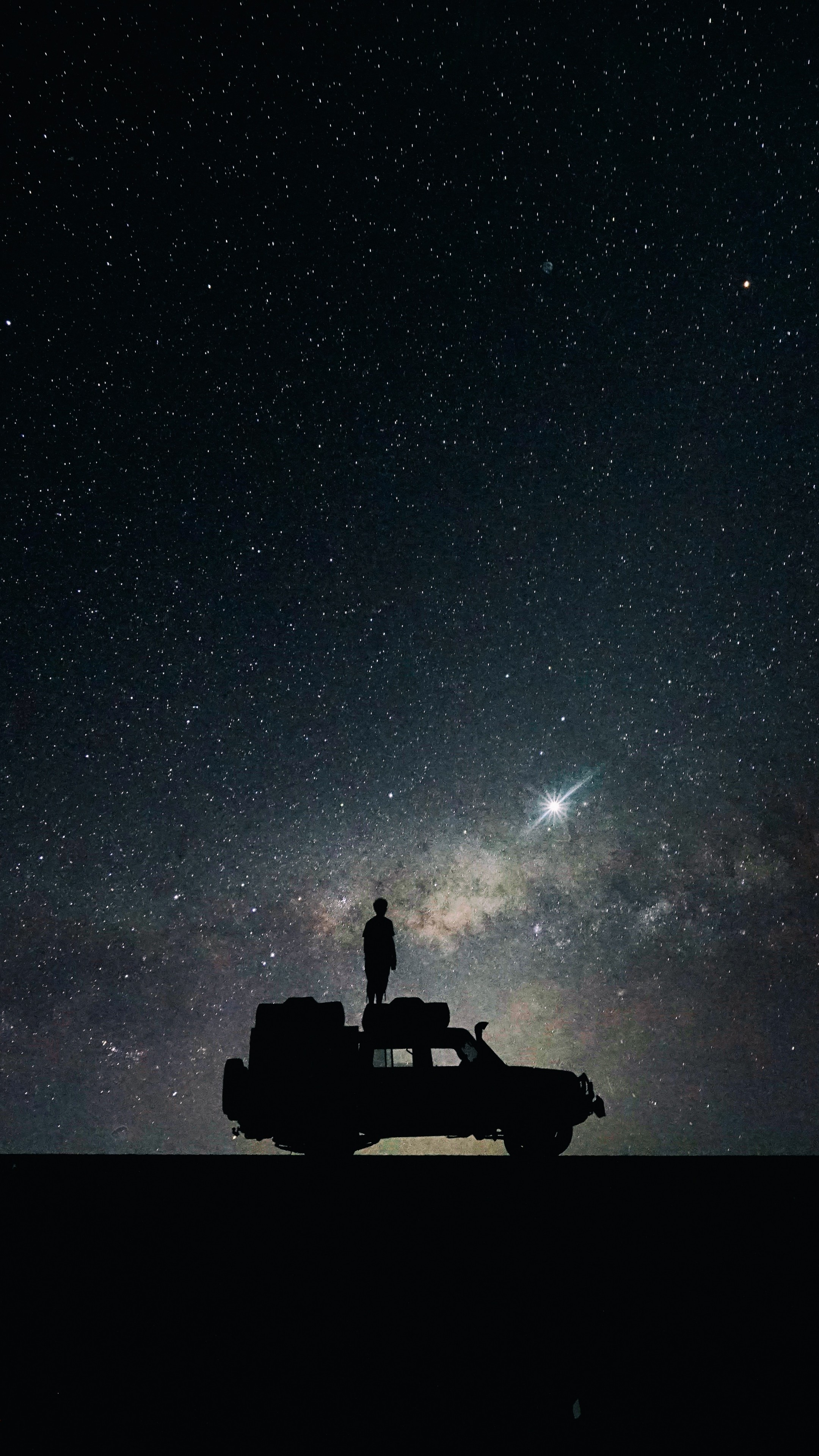 Preview wallpaper stars, sky, space, car 2160×3840