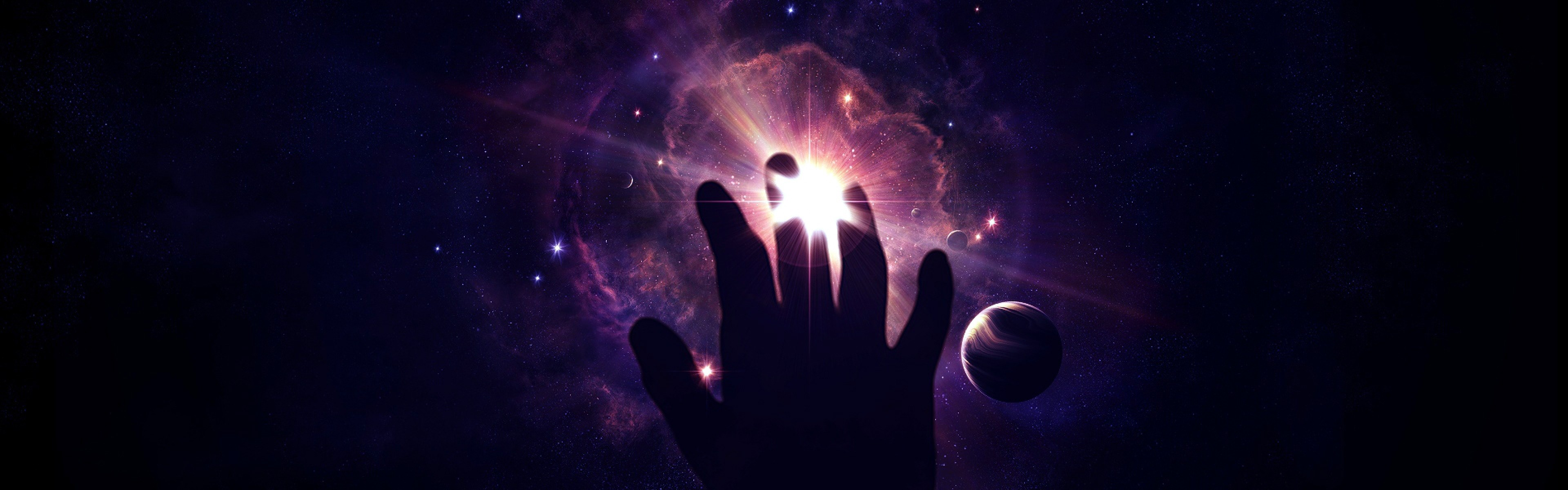 Wallpaper space, star, hand, unreality