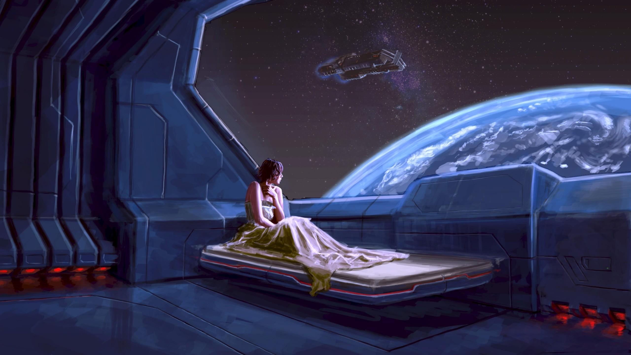 Preview wallpaper girl, planet, ship, space 2560×1440
