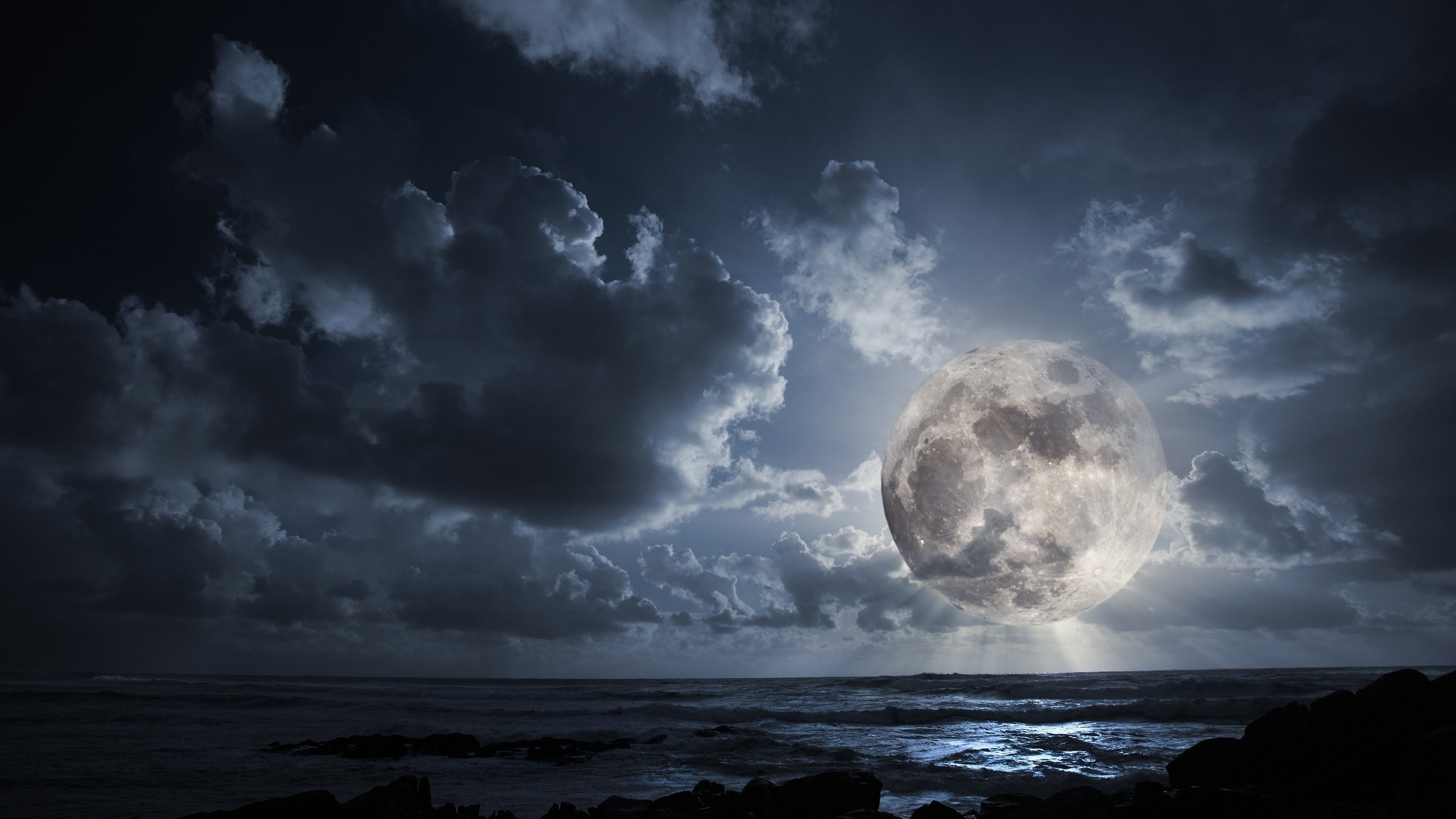 Outer Space Dark Night Moon