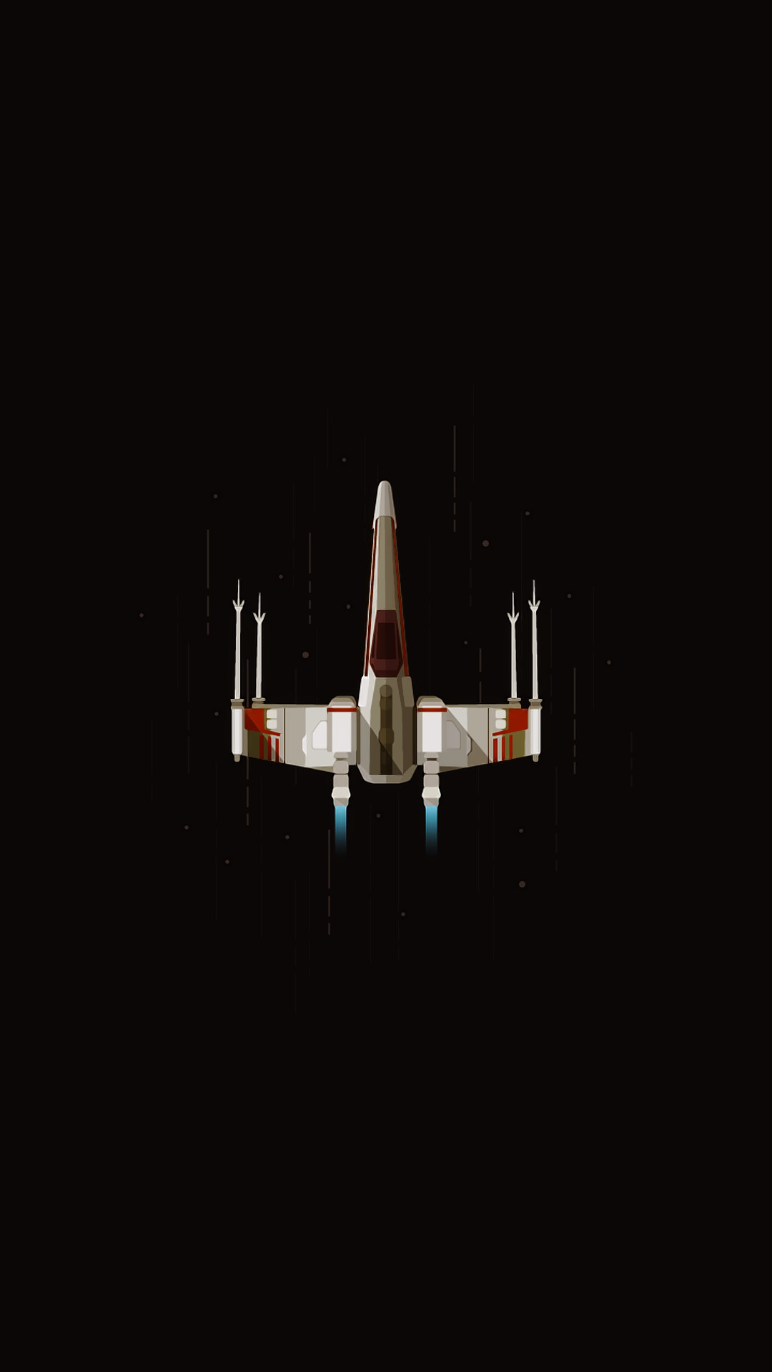 General digital art portrait display rocket spaceship simple  background minimalism space flying black background X