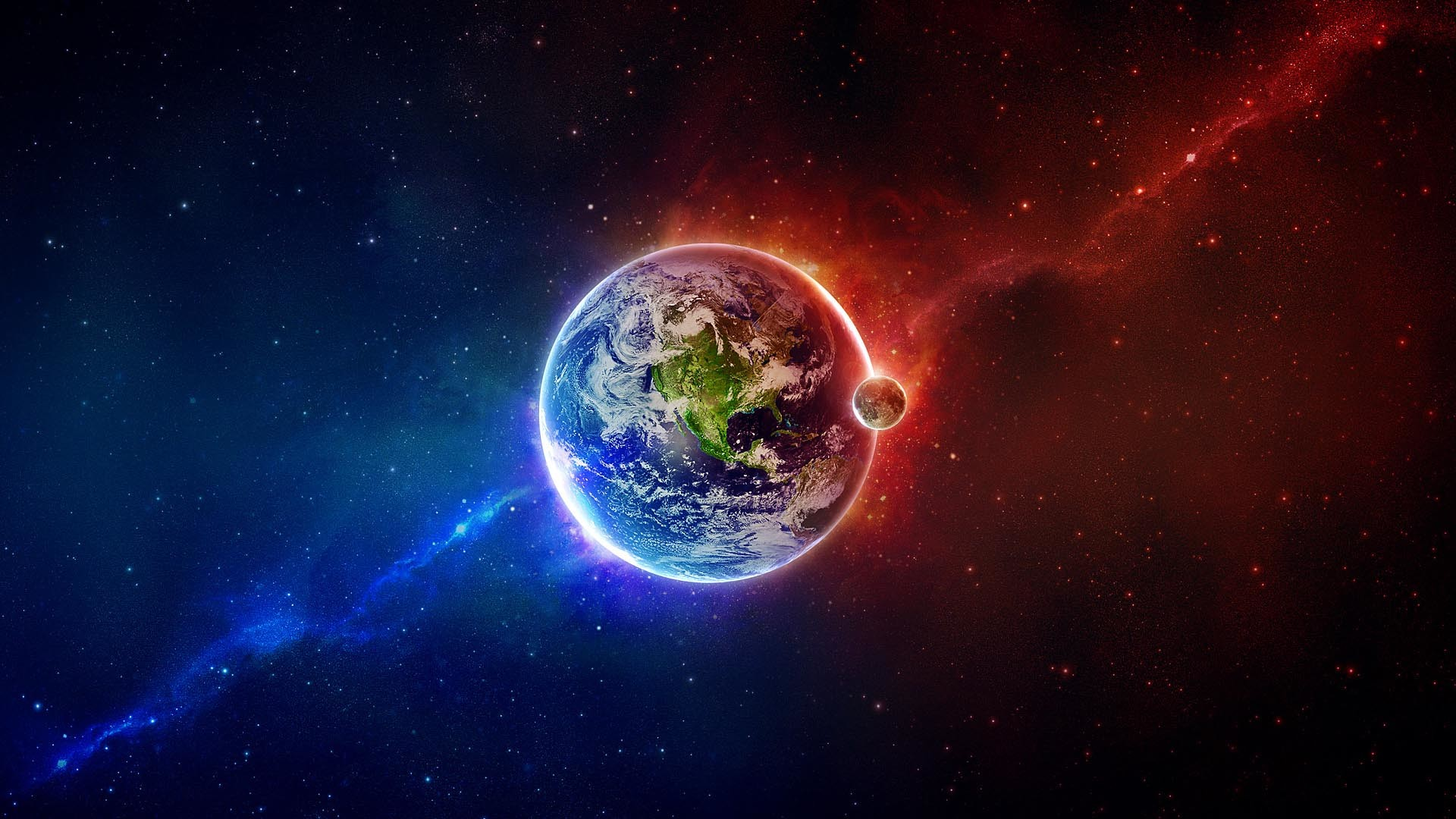 blue with red | Outer Space Earth Moon Red Blue HD Wallpaper