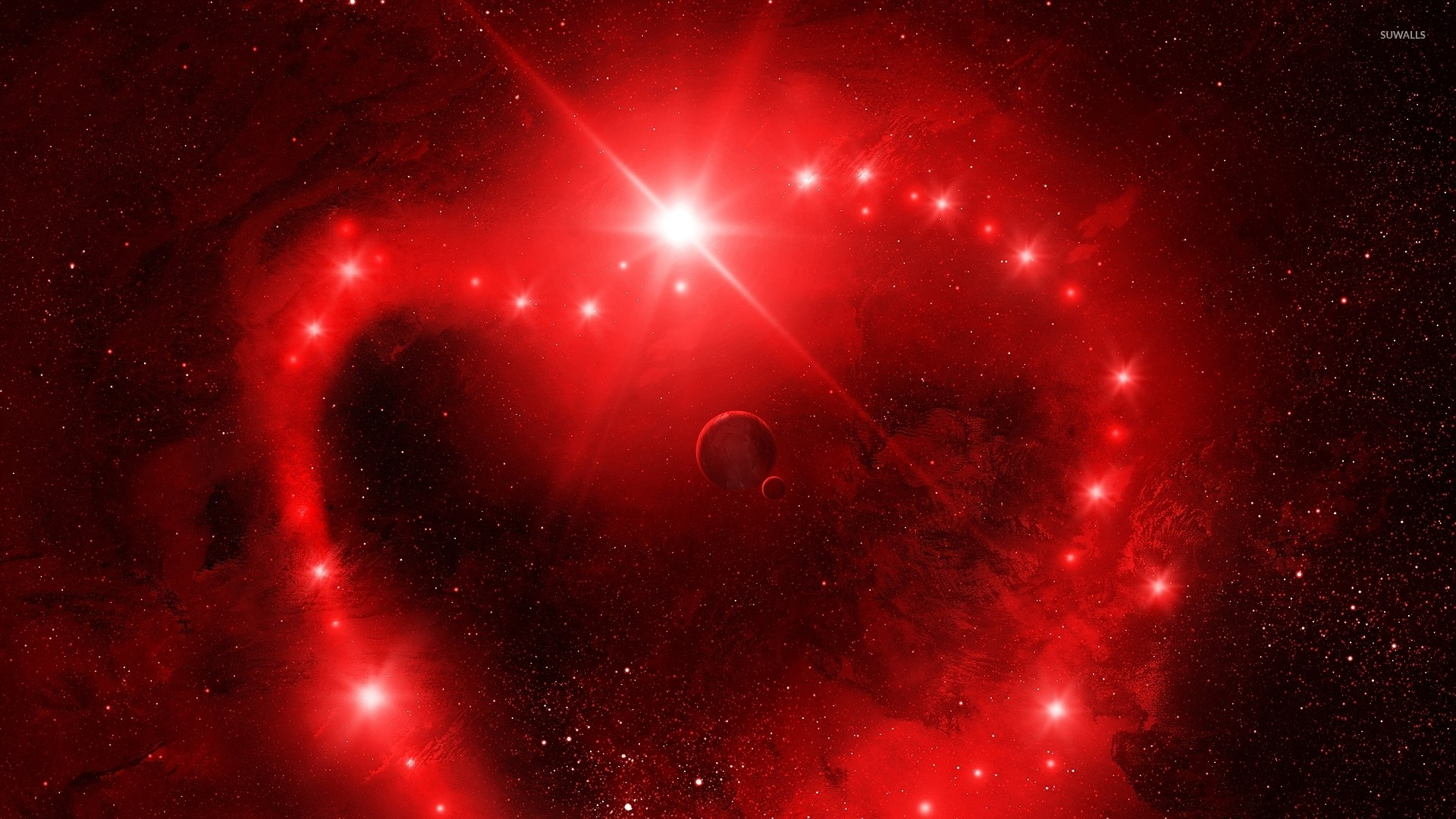 Red heart in space wallpaper