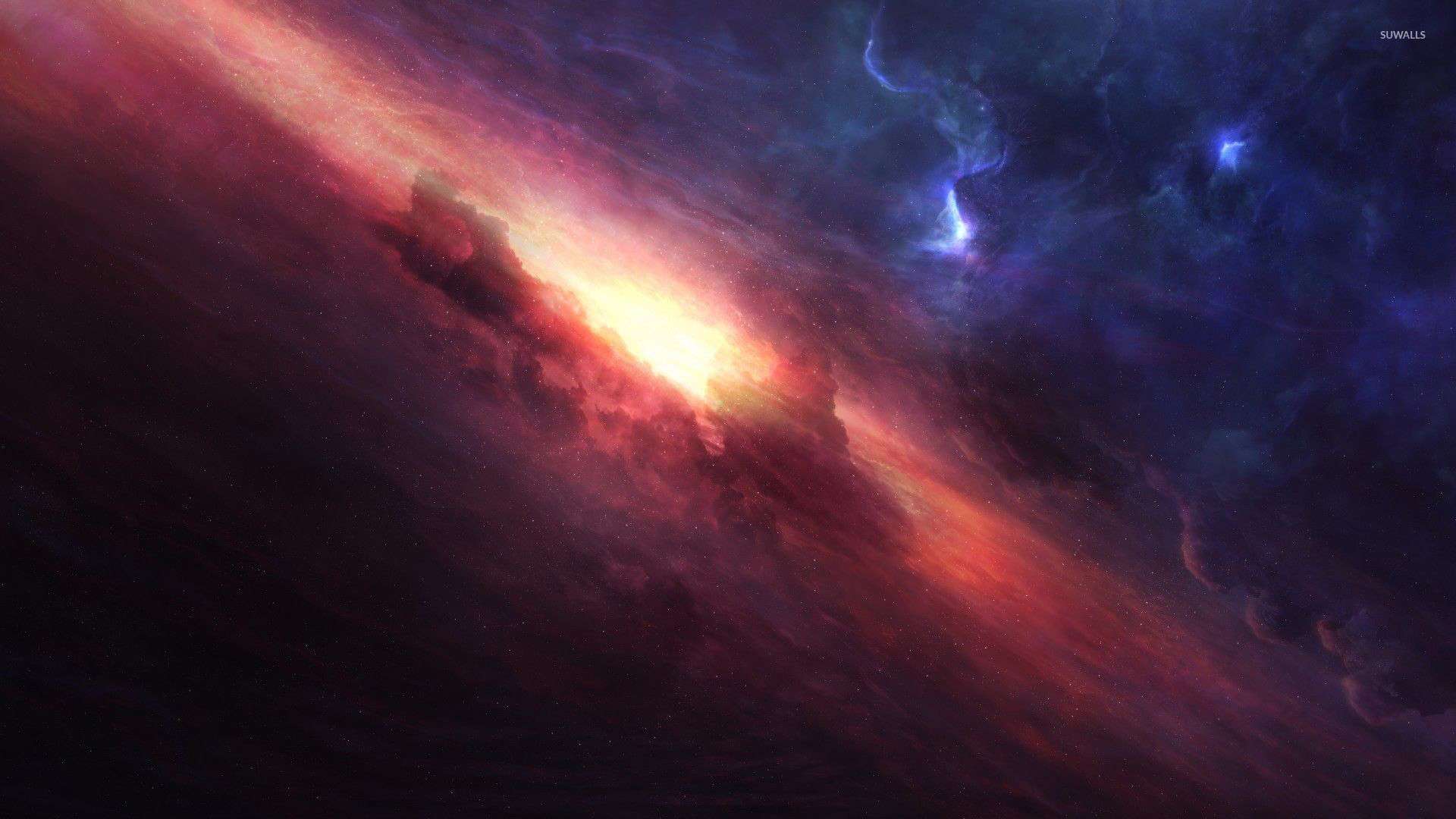 Golden light in the middle of the red nebula wallpaper