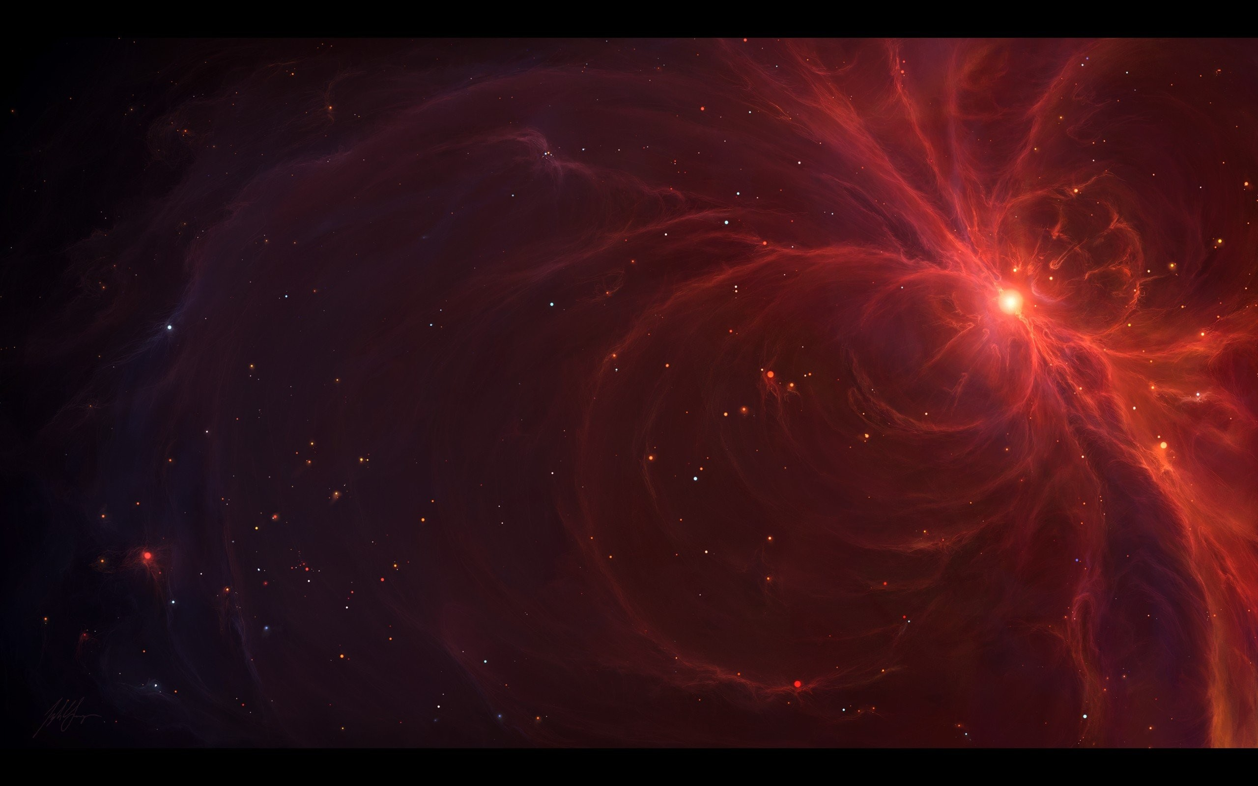 Outer space red stars galaxies digital art artwork Tyler Young wallpaper |  | 254171 | WallpaperUP