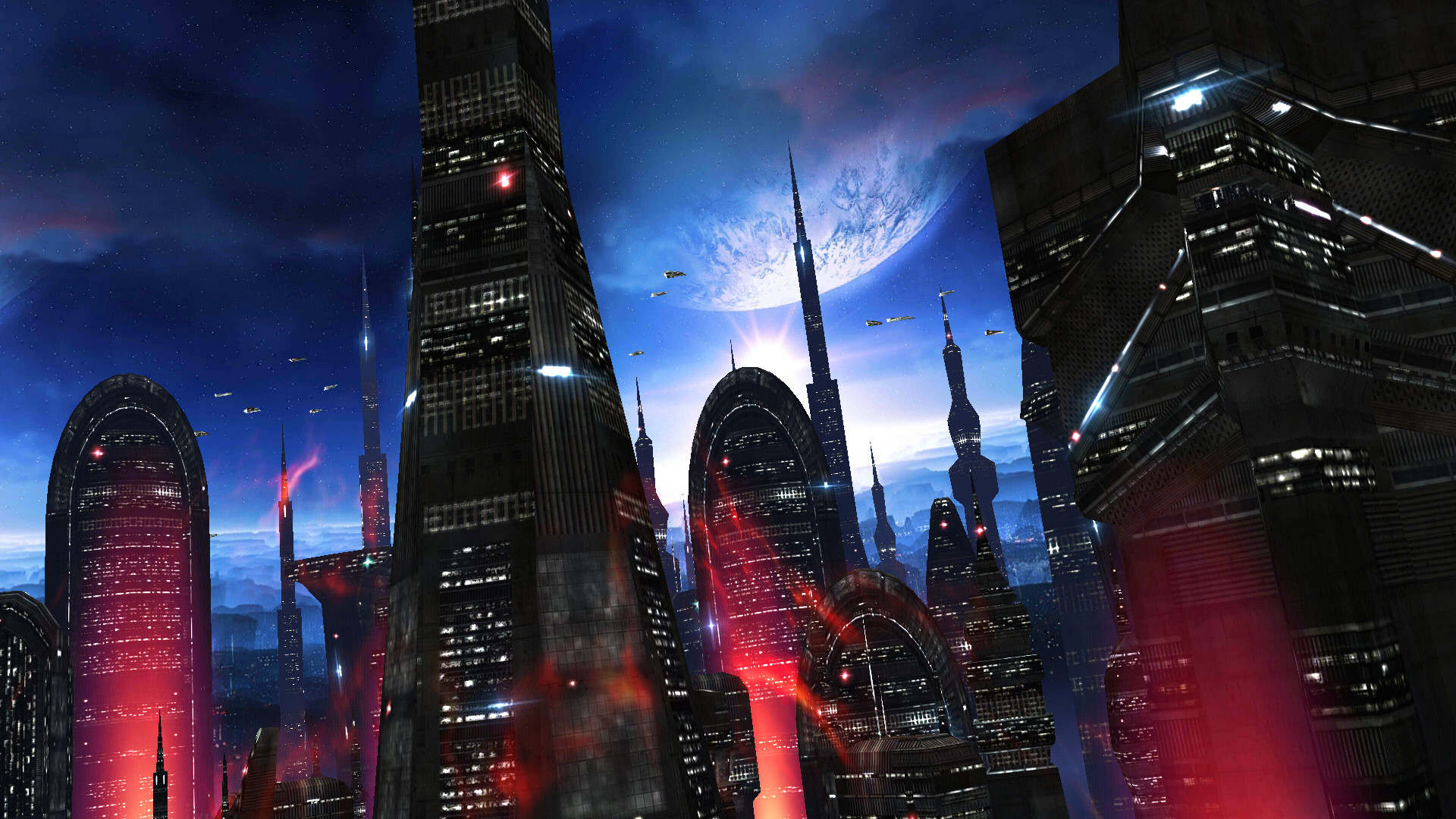 Space Colony turns your home screen into an alien cityscape with towering  buildings, epic star-filled skies, and glowing starships flying past.