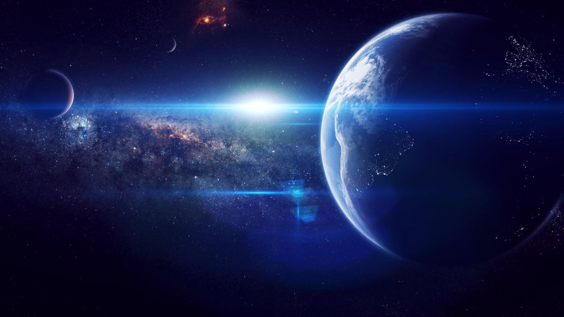 planet land star space earth art universe nebula space HD wallpaper