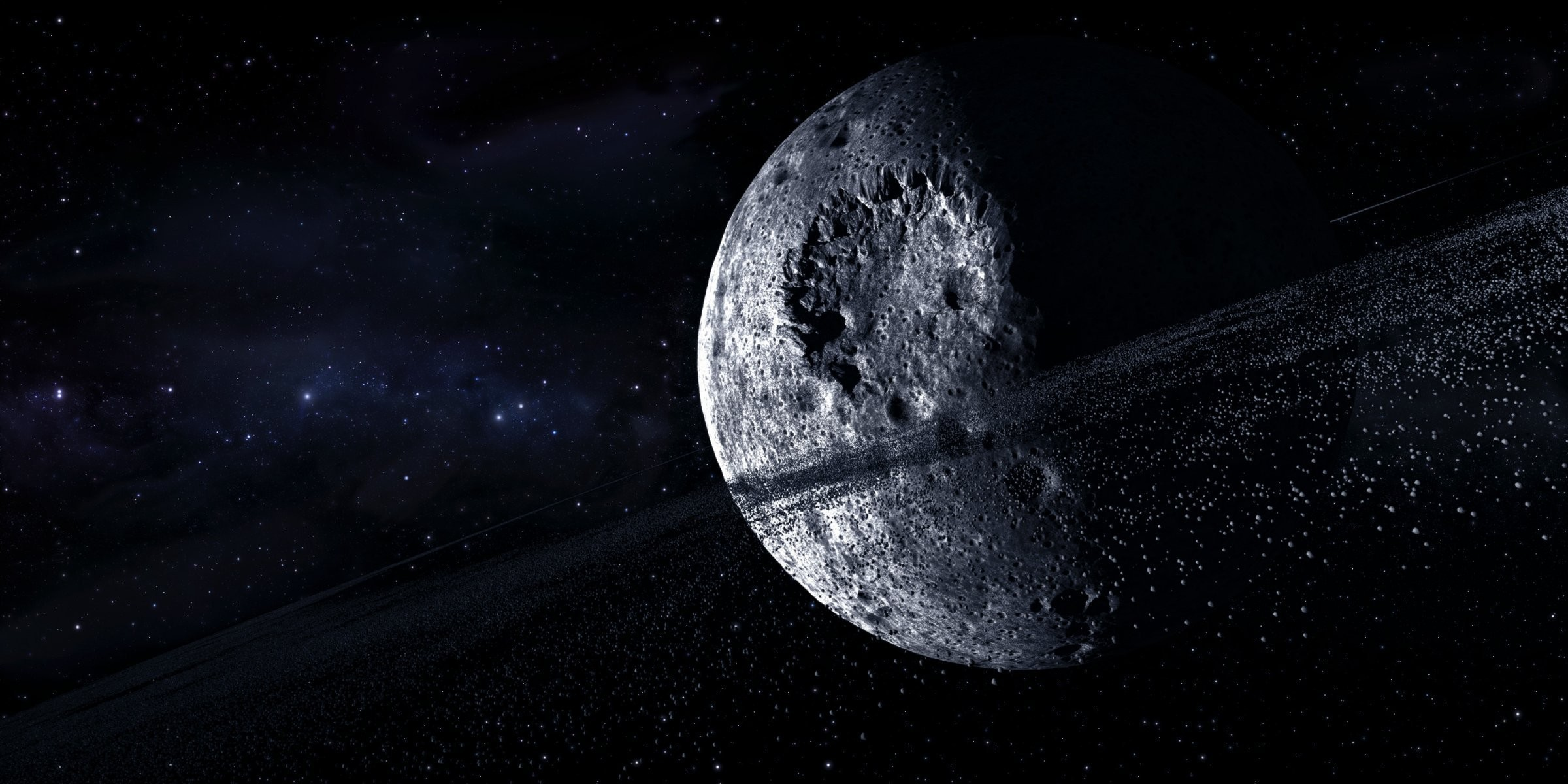 multi monitors space star planet craters asteroids ring HD .