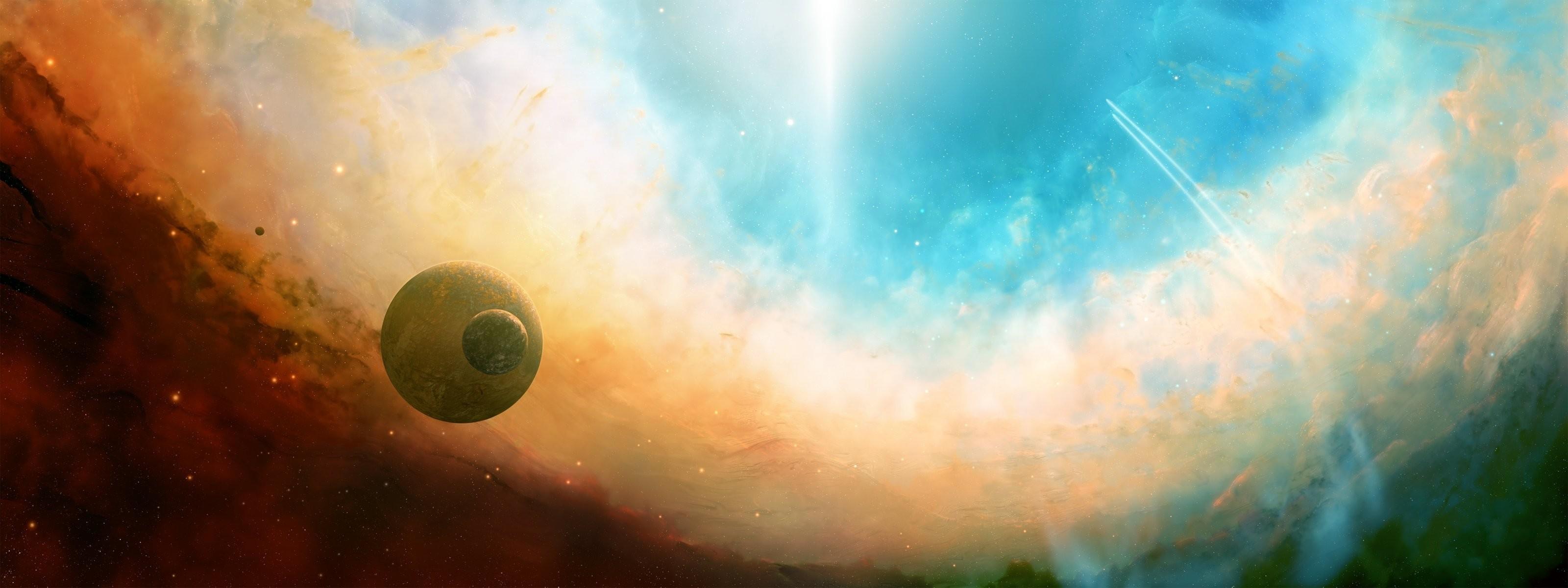 space space world lights star light flight trajectory nebula dual monitor