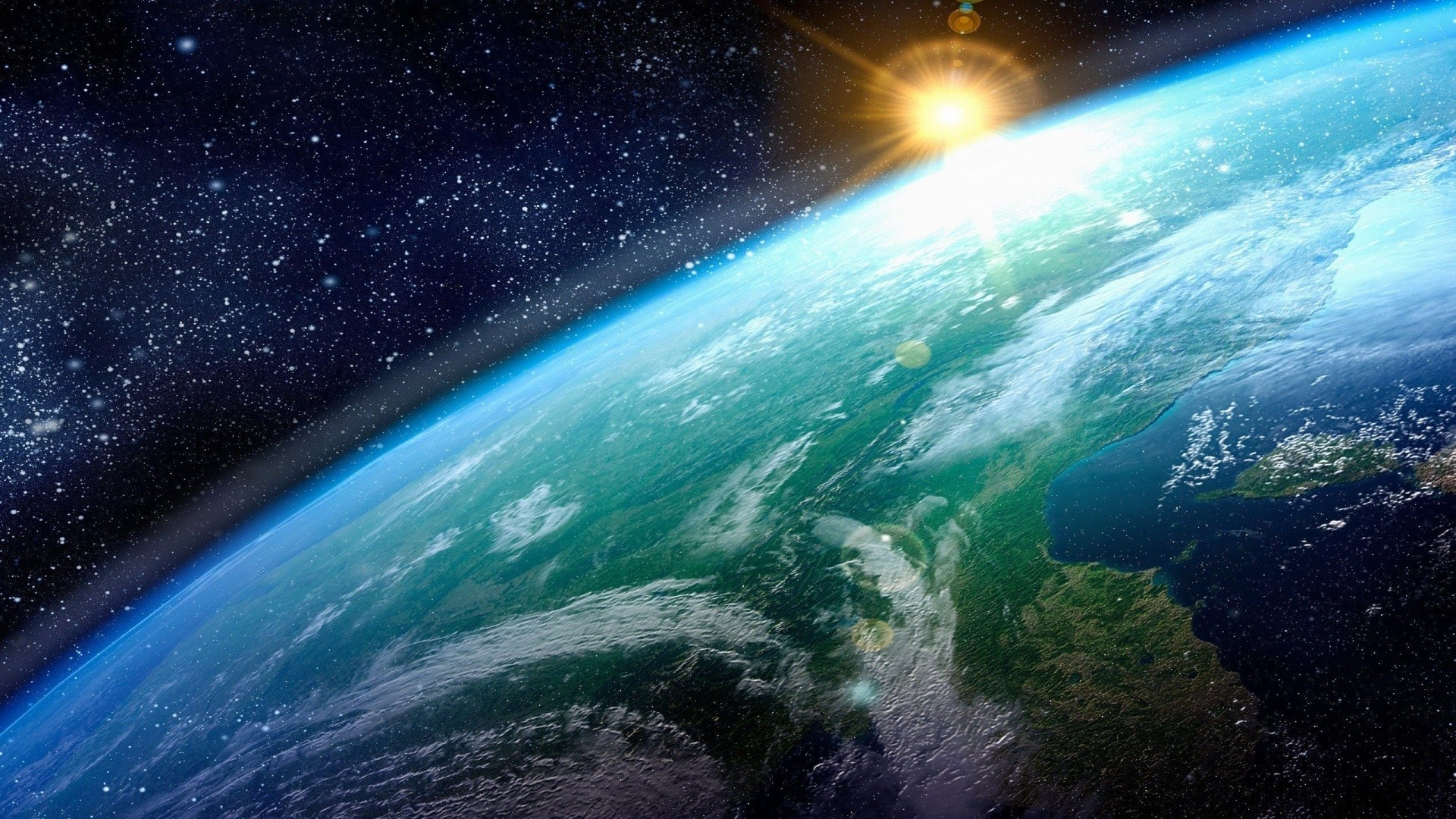 Preview wallpaper earth, sun, planet, surface, stars 1920×1080