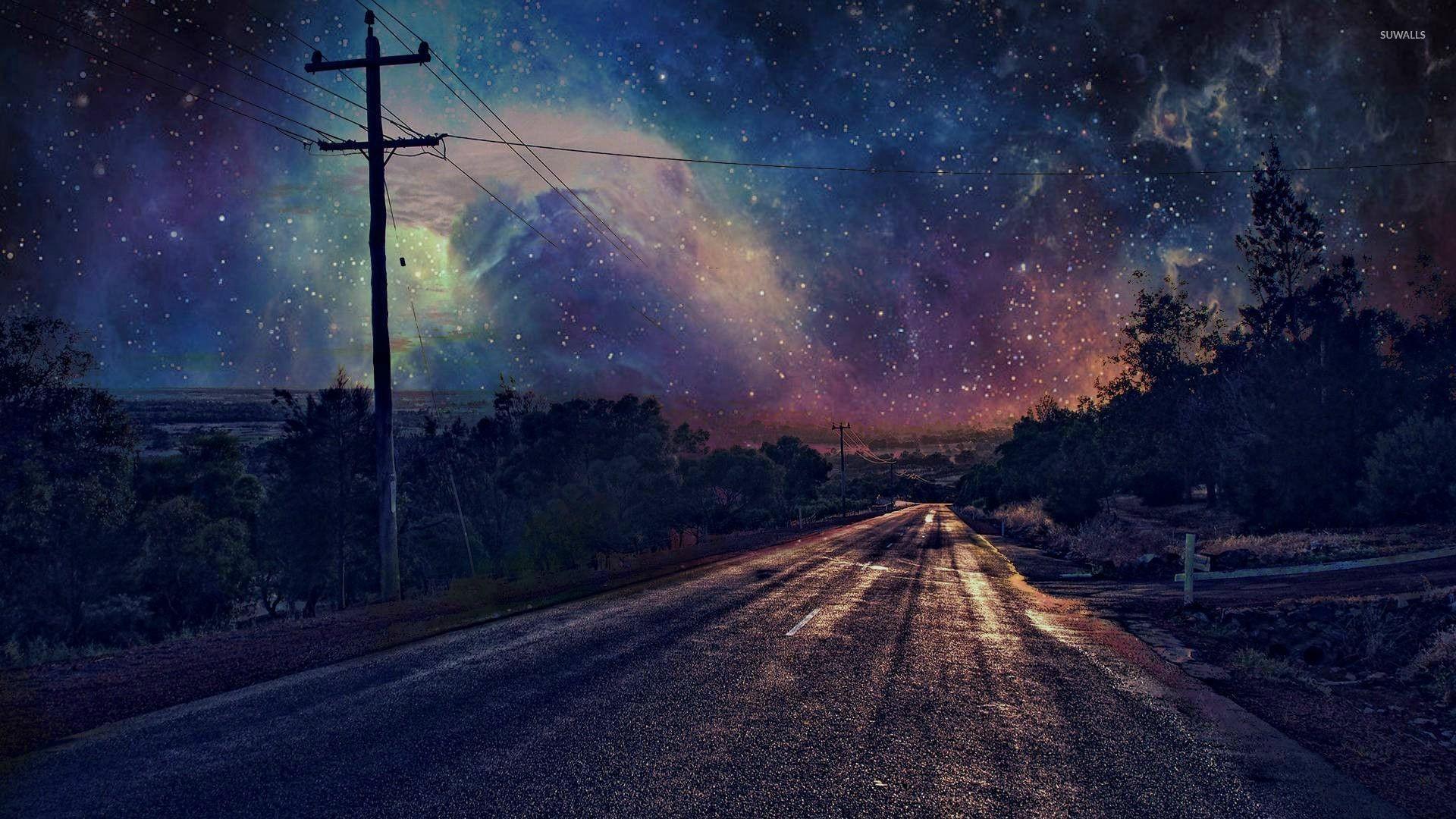 Nebula covered night sky wallpaper jpg