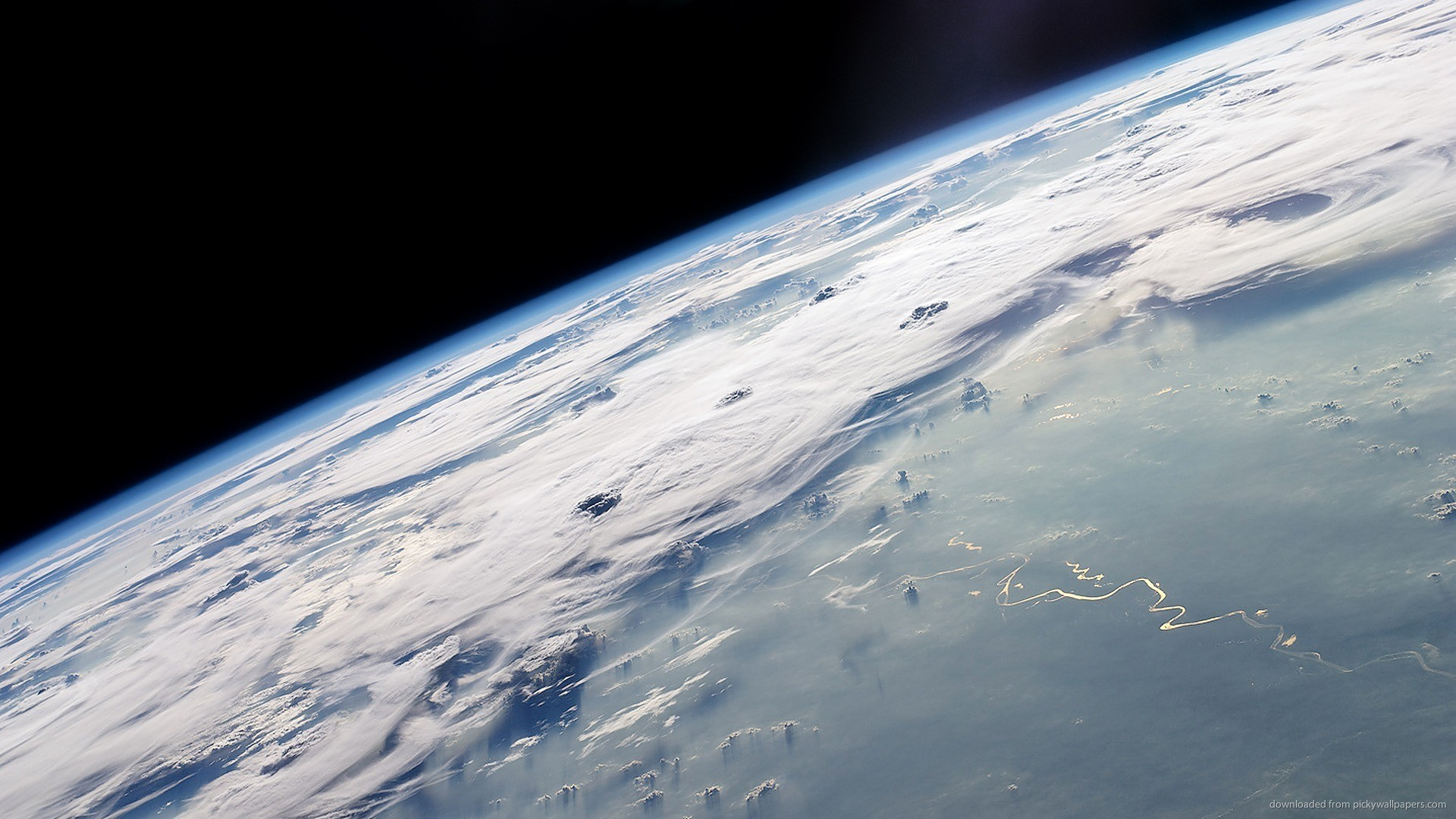 Cloudy Earth View From Space for 1920×1080