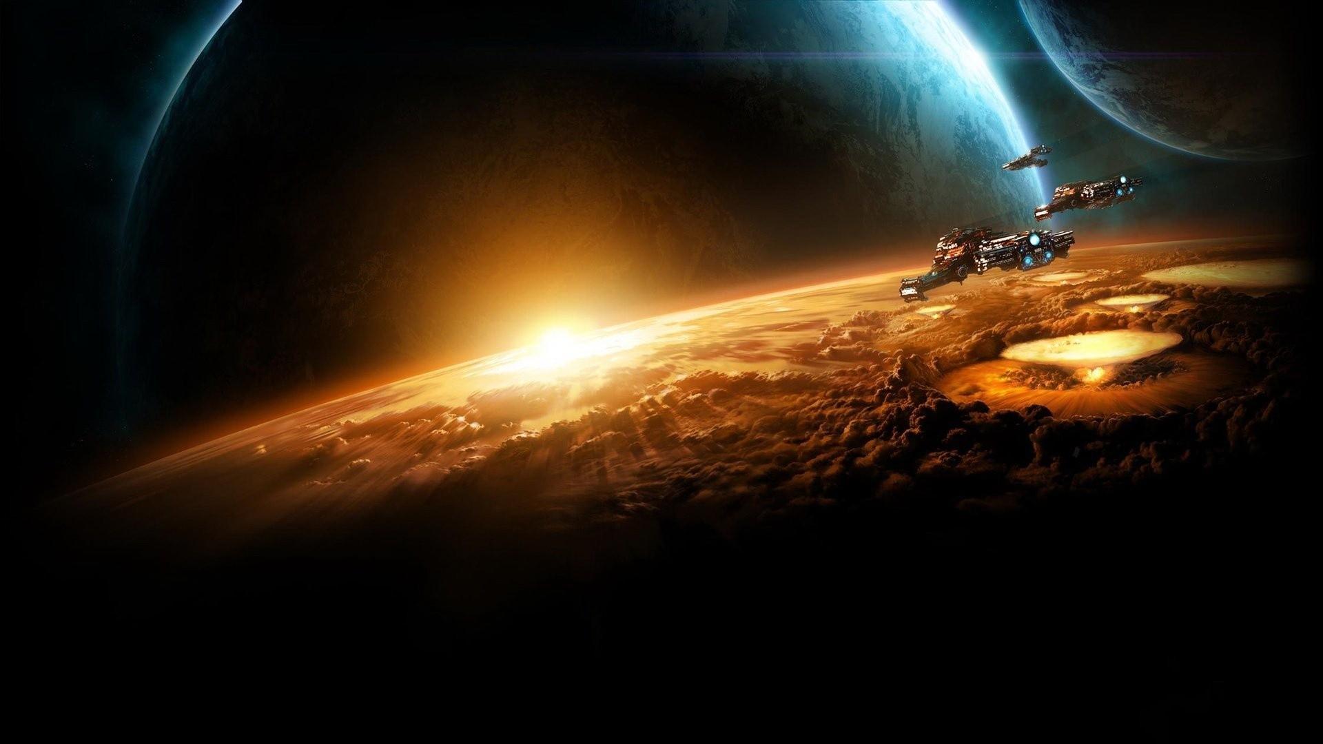 Wallpaper starcraft, planet, sun, earth, space