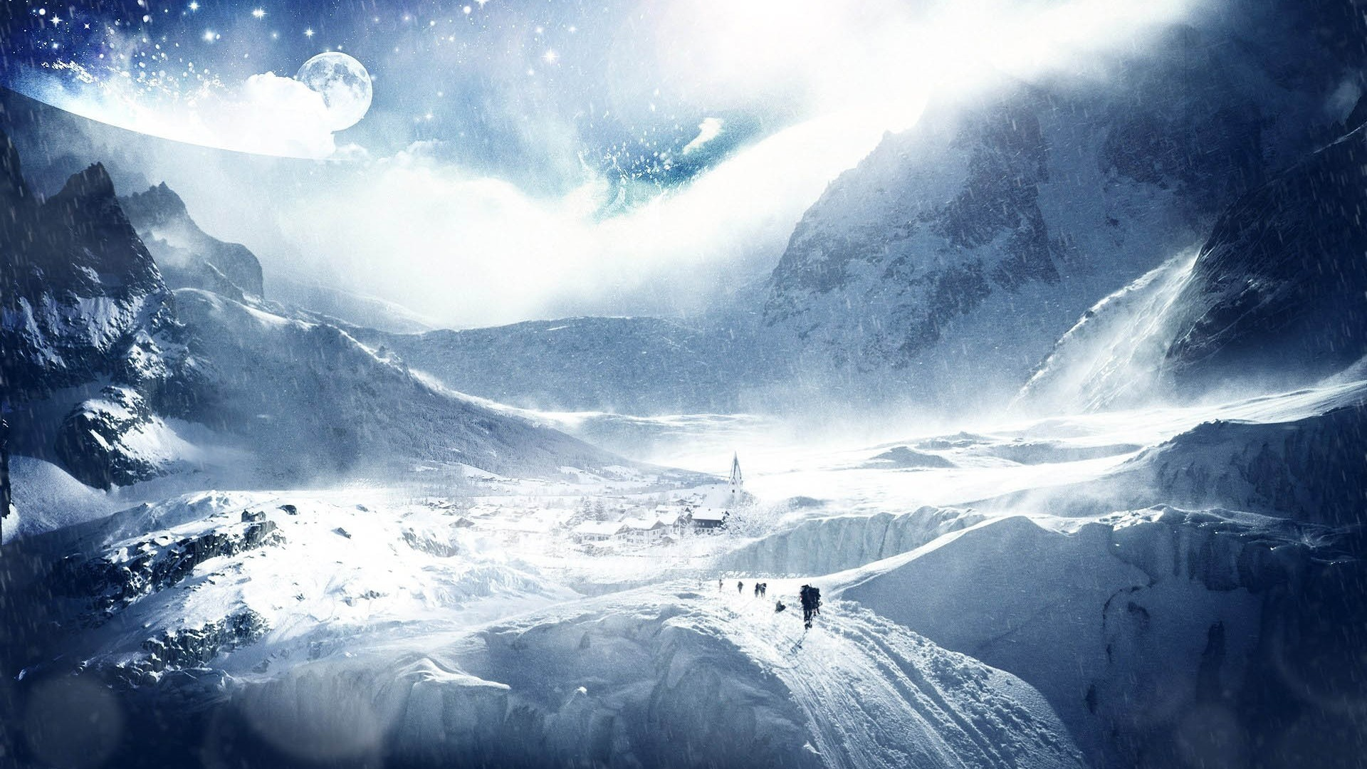 Wallpaper trees, planet, earth, sky, stars, skiers, research