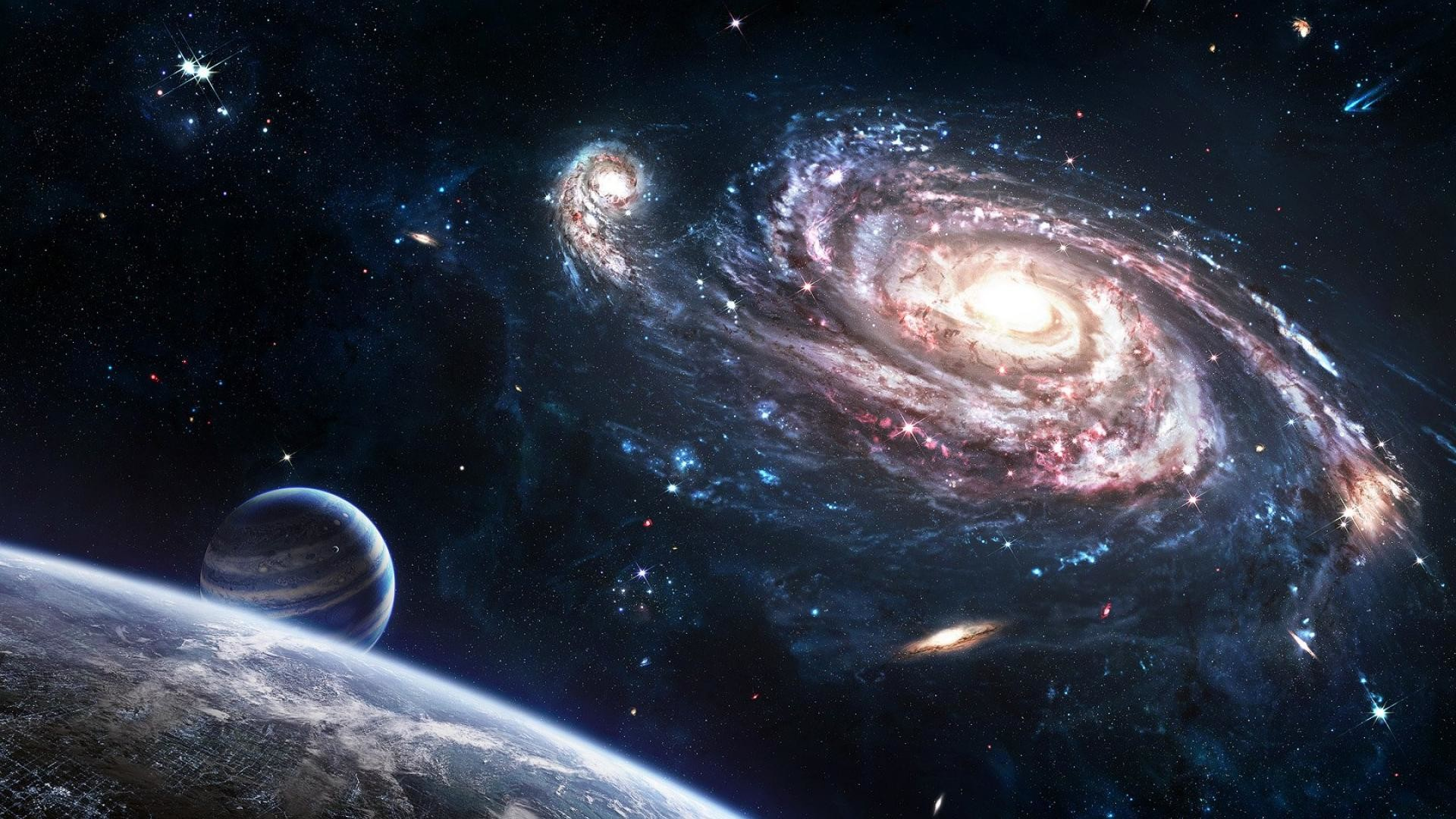 Hd Universe Wallpaper: Planet Space Universe Earth Galaxy Stars Cosmic Hd  Wallpaper 1920x1080px