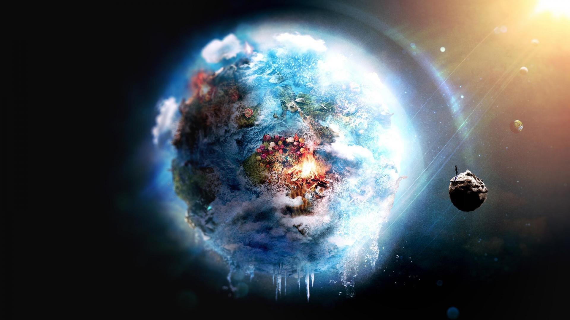 Futuristic Space Digital Art Earth Image.