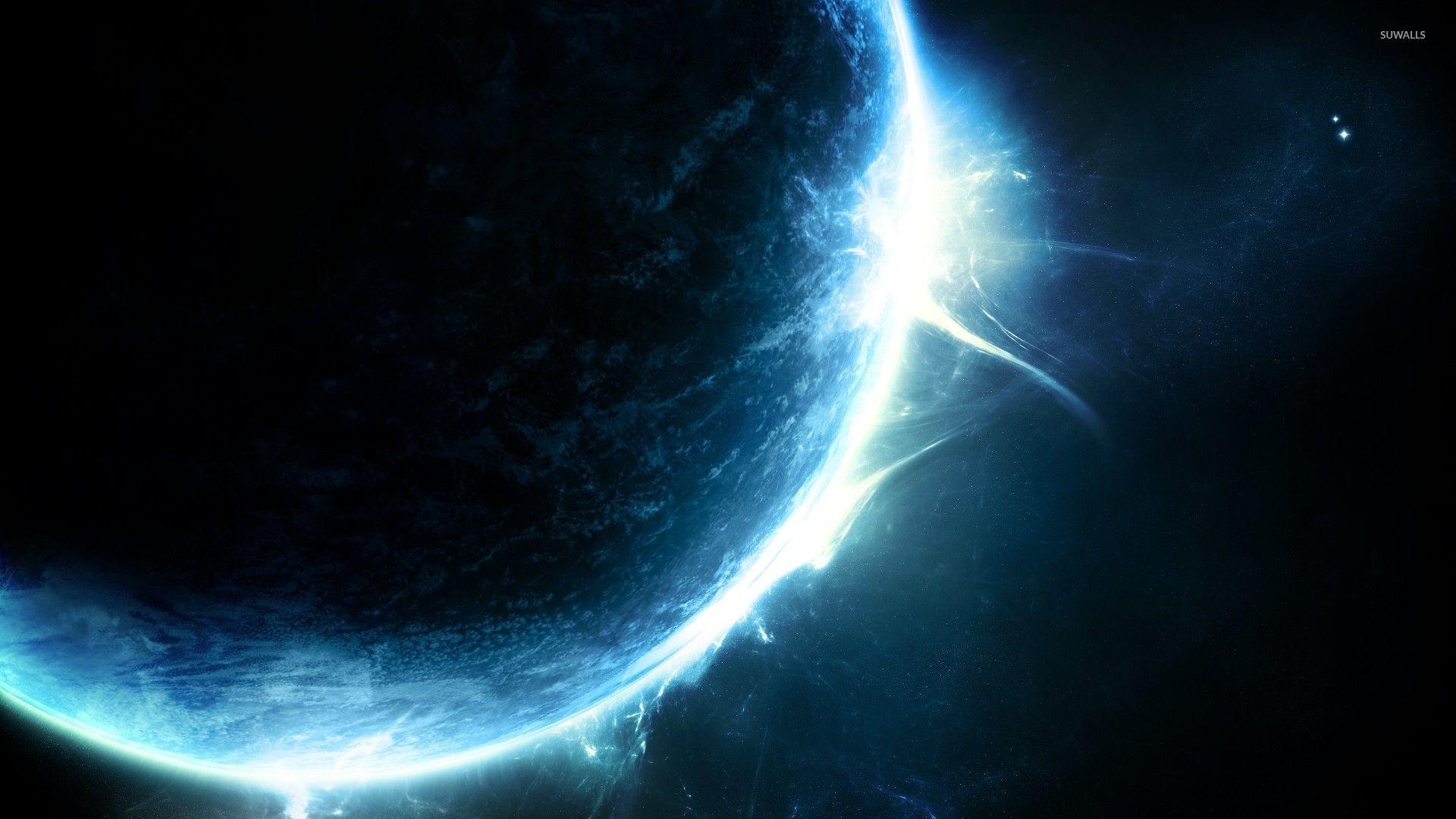 Glowing blue planet wallpaper jpg