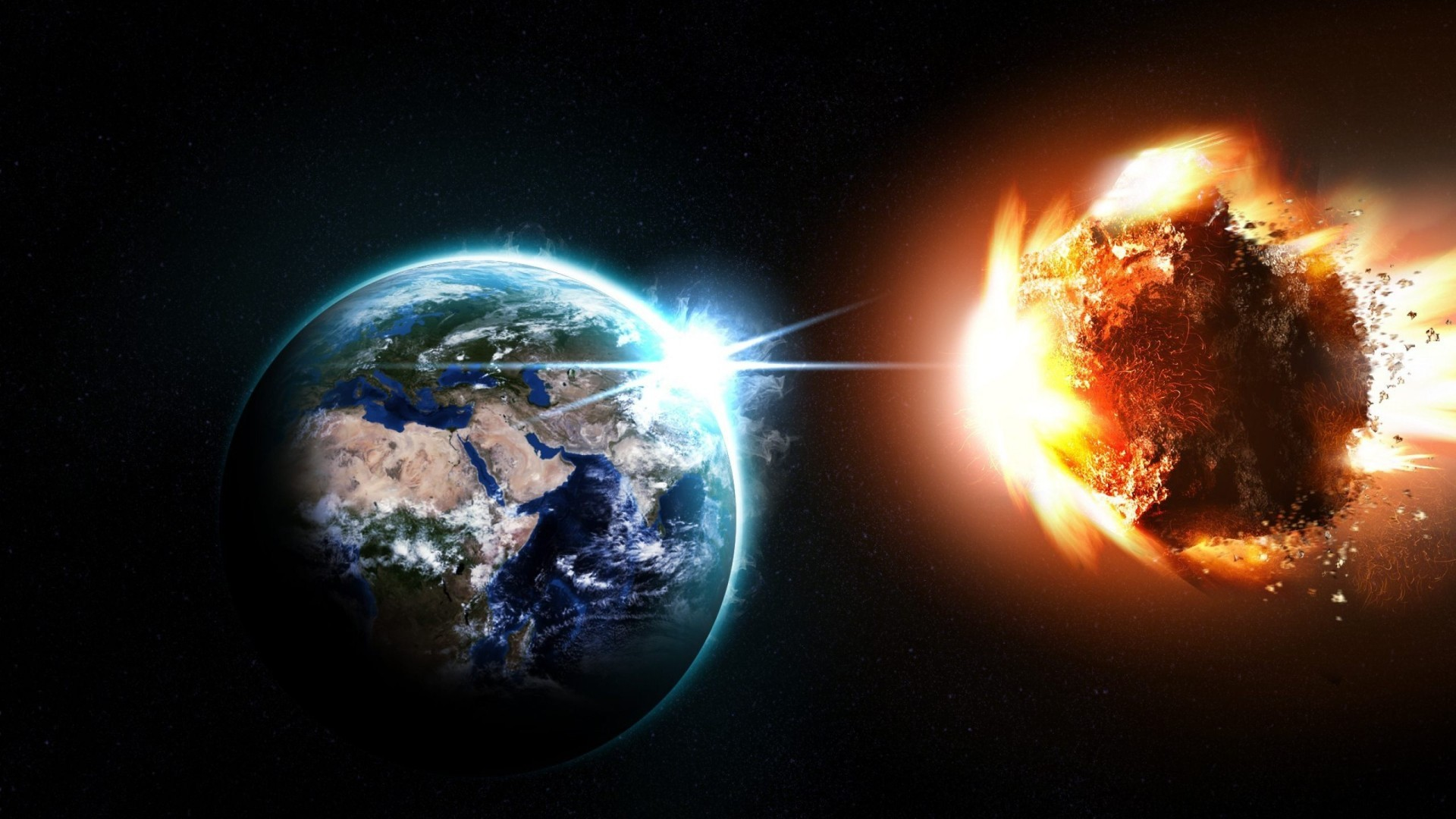 Asteroid and Earth Wallpaper
