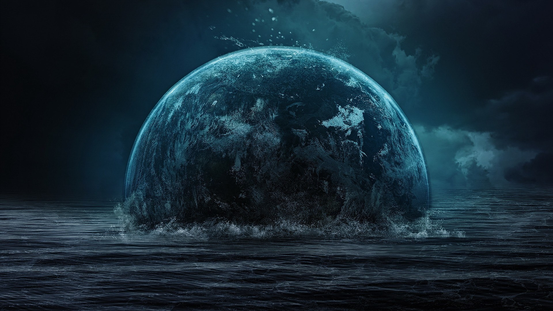 The earth is immersed in water